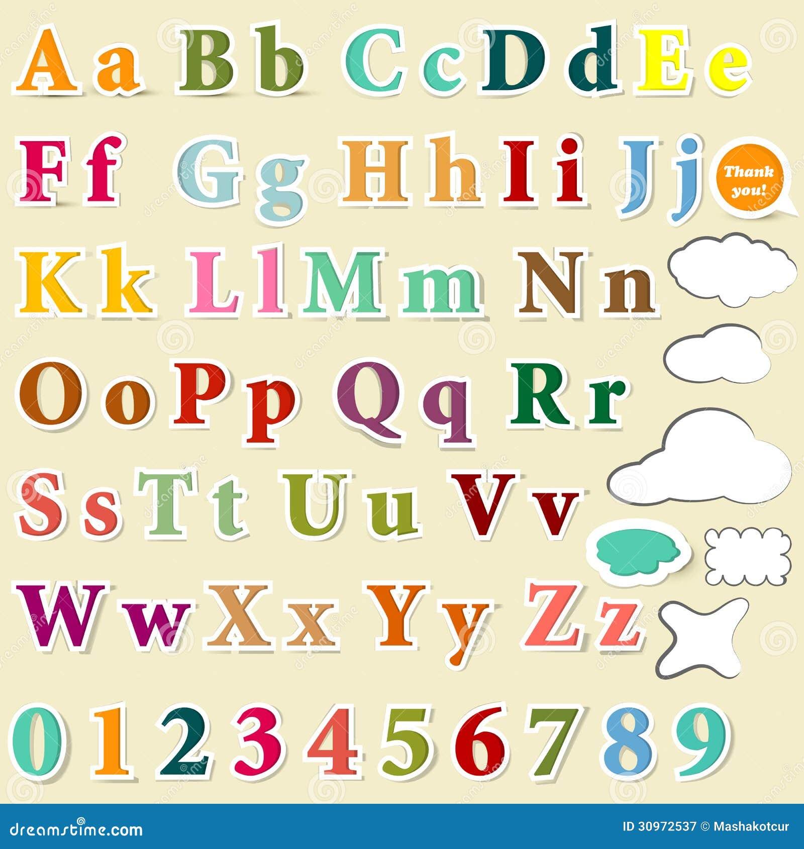 Sammlung Englisch Beschriftet Buntes Alphabet Für Entwurf Vektor