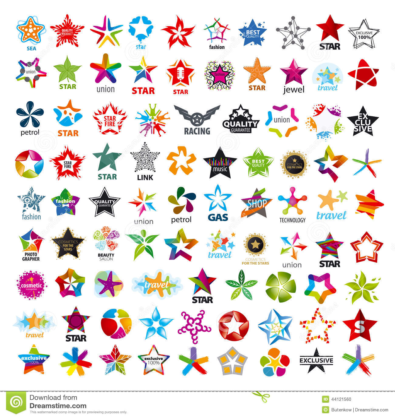 Sammlung fünf-spitze Sterne der Vektorlogos