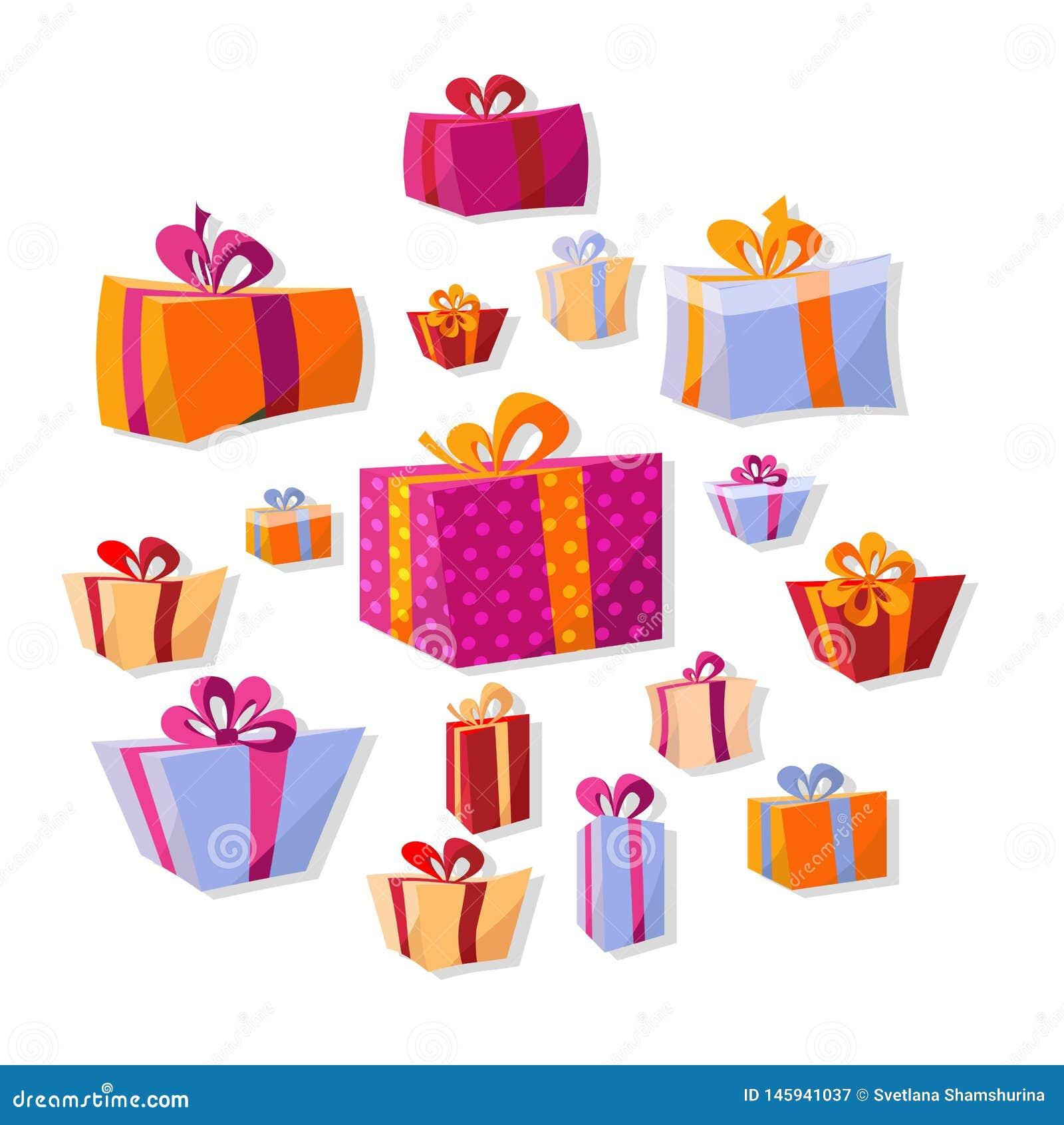 Sammlung flache Volumengeschenkboxen lokalisiert auf weißem Hintergrund Der helle Dekor des neuen Jahres und Weihnachtsin der Kar