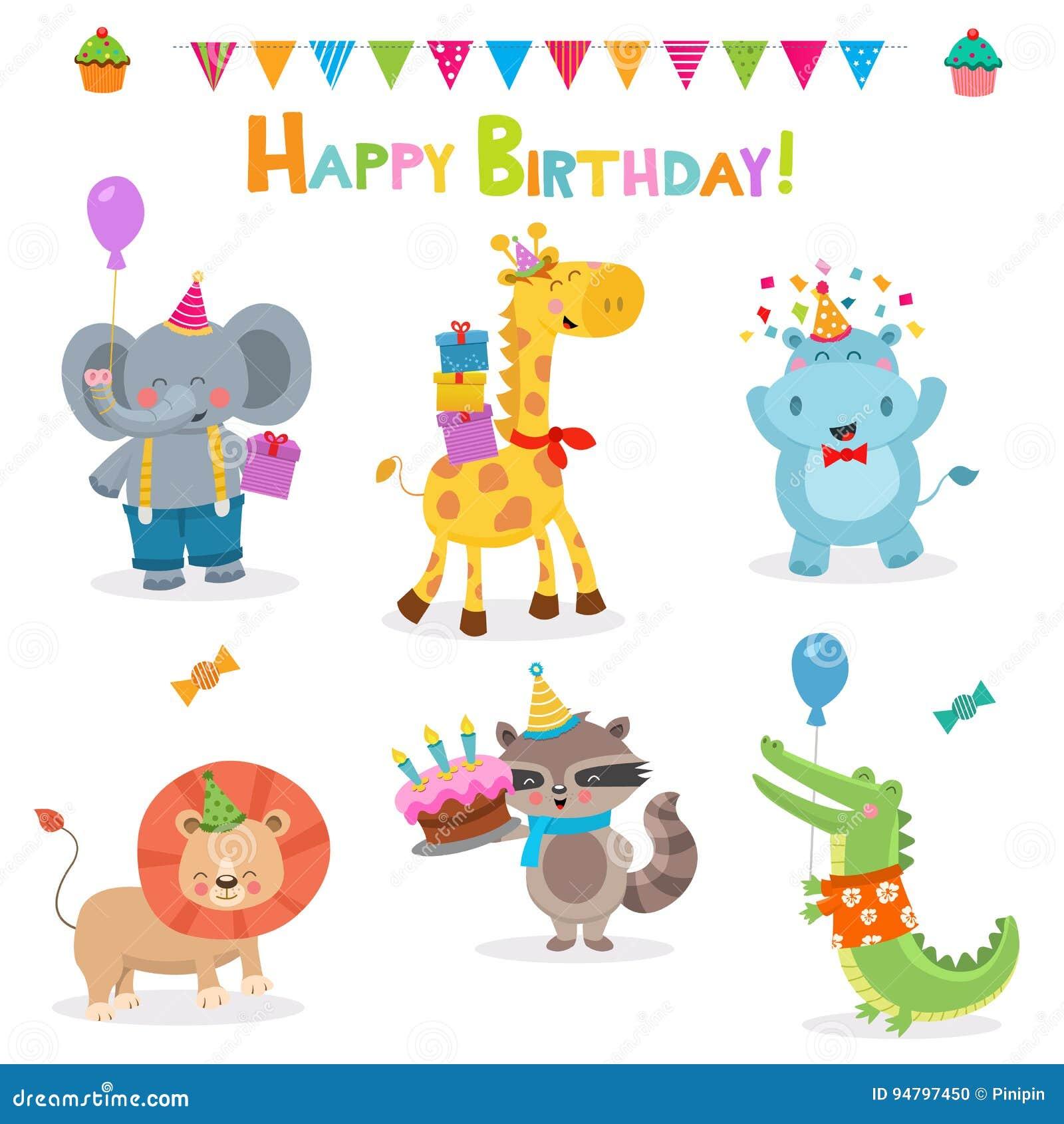 Sammlung Geburtstags Tiere Vektor Abbildung Illustration Von Ballon