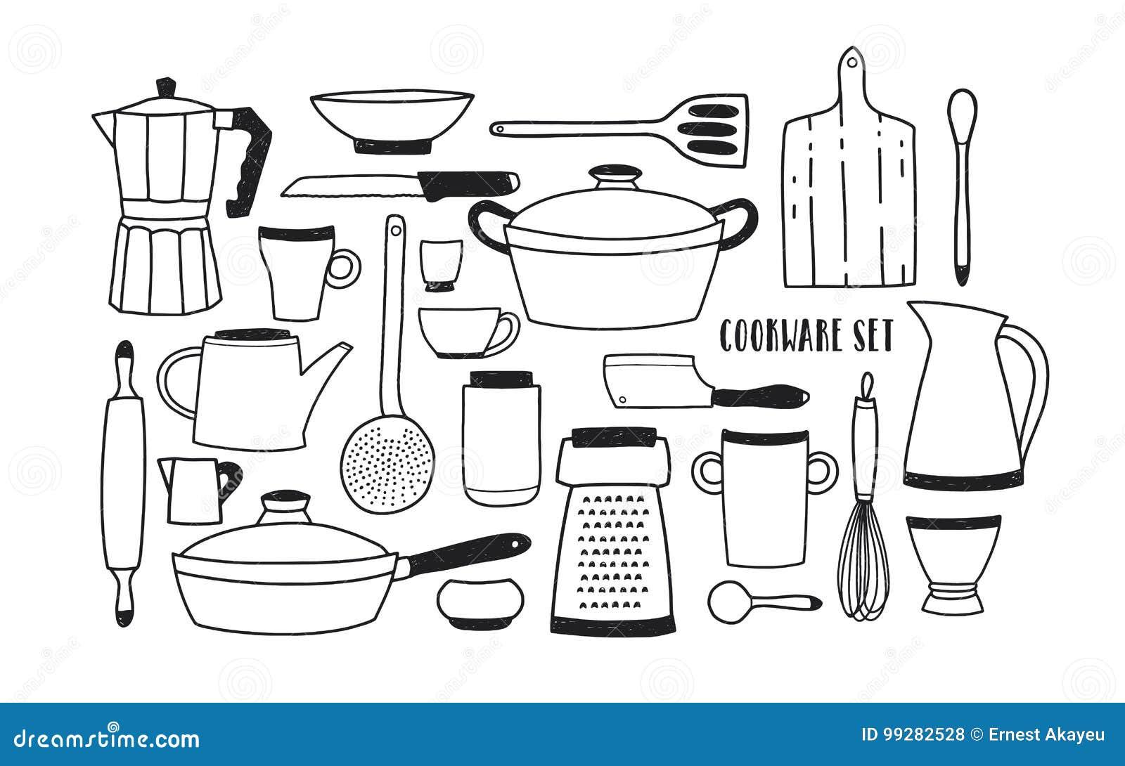 Sammlung Hand Gezeichnete Küchengeräte Und -werkzeuge Für Das Kochen ...