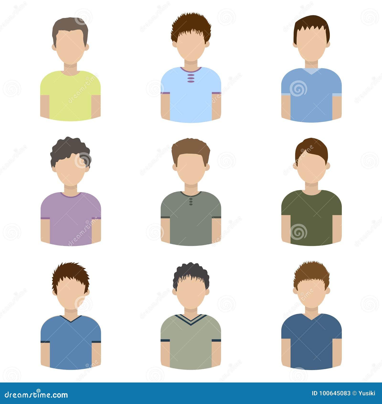 Sammlung Ikonen von Männern in einer flachen Art Männliche Avataras Satz Bilder von jungen Männern Vektor