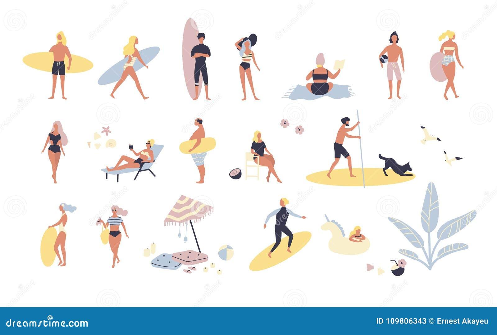 Sammlung Leute, die Tätigkeiten des Sommers im Freien am Strand - ein Sonnenbad nehmend, gehend, tragendes Surfbrett durchführen