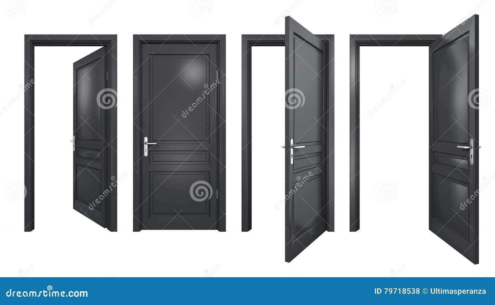Schwarze Türen sammlung lokalisierte schwarze türen stock abbildung - illustration