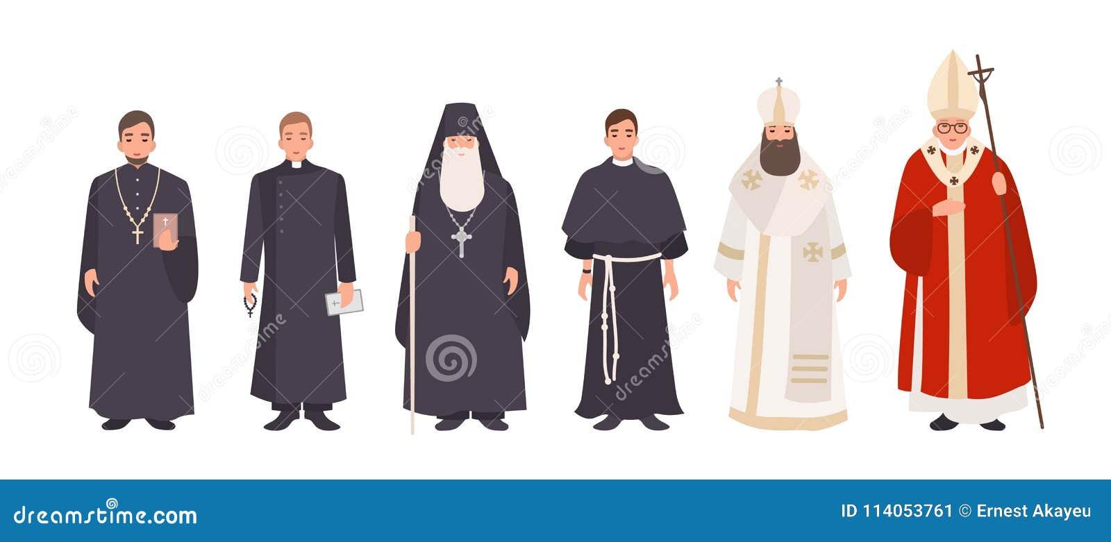 Sammlung Mönche, Priester und religiöse Führer von katholischen und orthodoxen christlichen Kirchen Bündel Geistliche oder