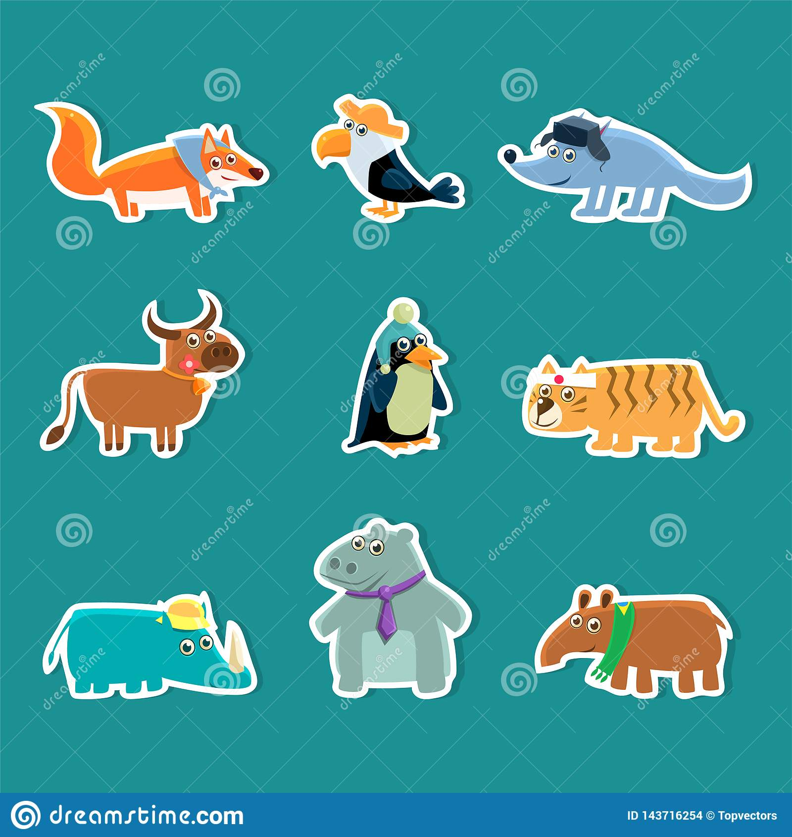 Sammlung nette Karikatur-Tieraufkleber, Fox, Tukan, Wolf, Kuh, Pinguin, Tiger, Nashorn, Nilpferd, Erdferkel-Vektor