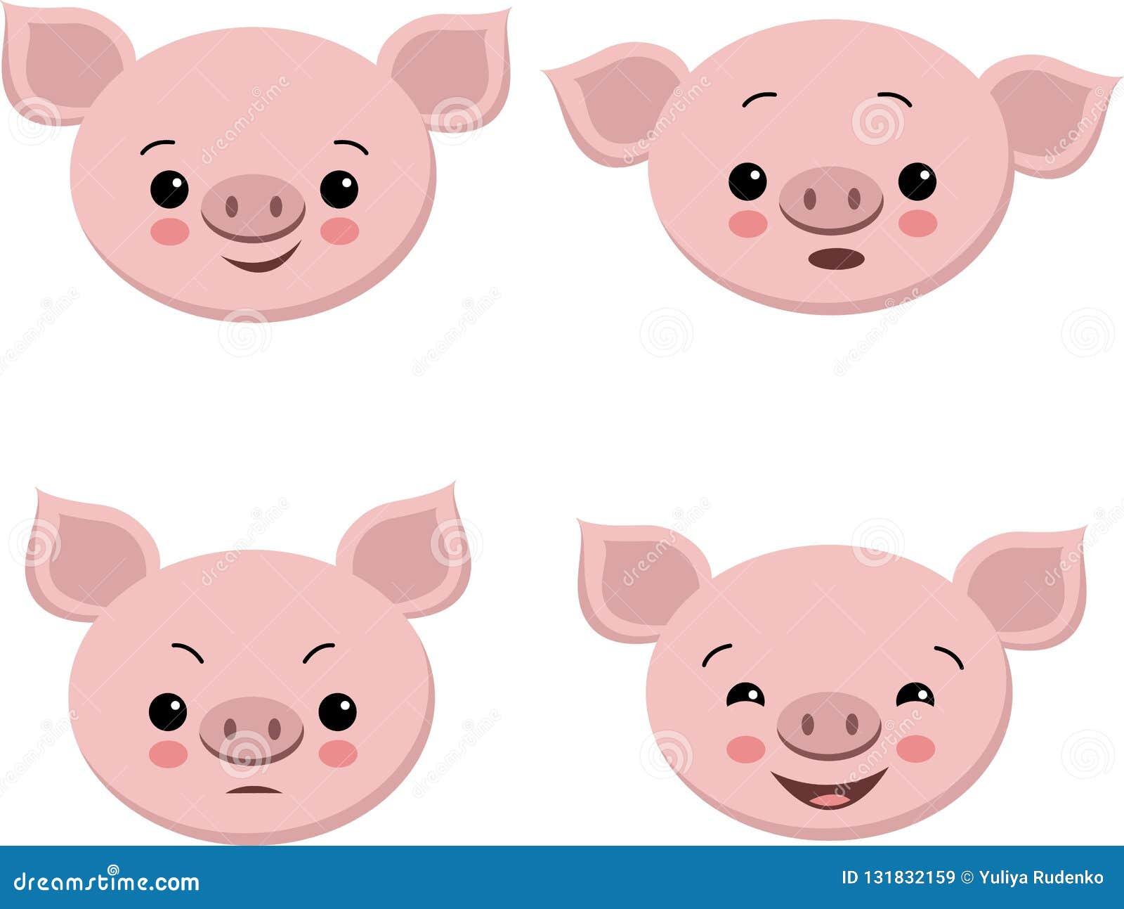 Sammlung nette Schweine in der Karikaturart Lokalisiertes Gefühlschwein des Vektors Satz