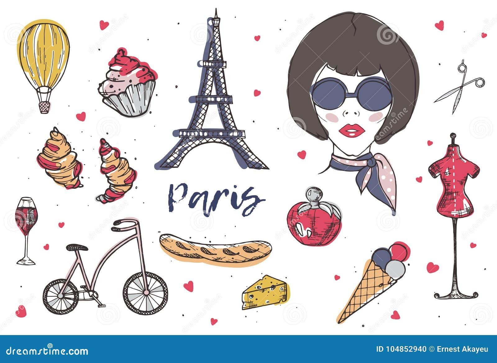 Sammlung Paris  Und Frankreich Elemente   Moderne Pariser Frau, Parfüm,  Französischer Käse