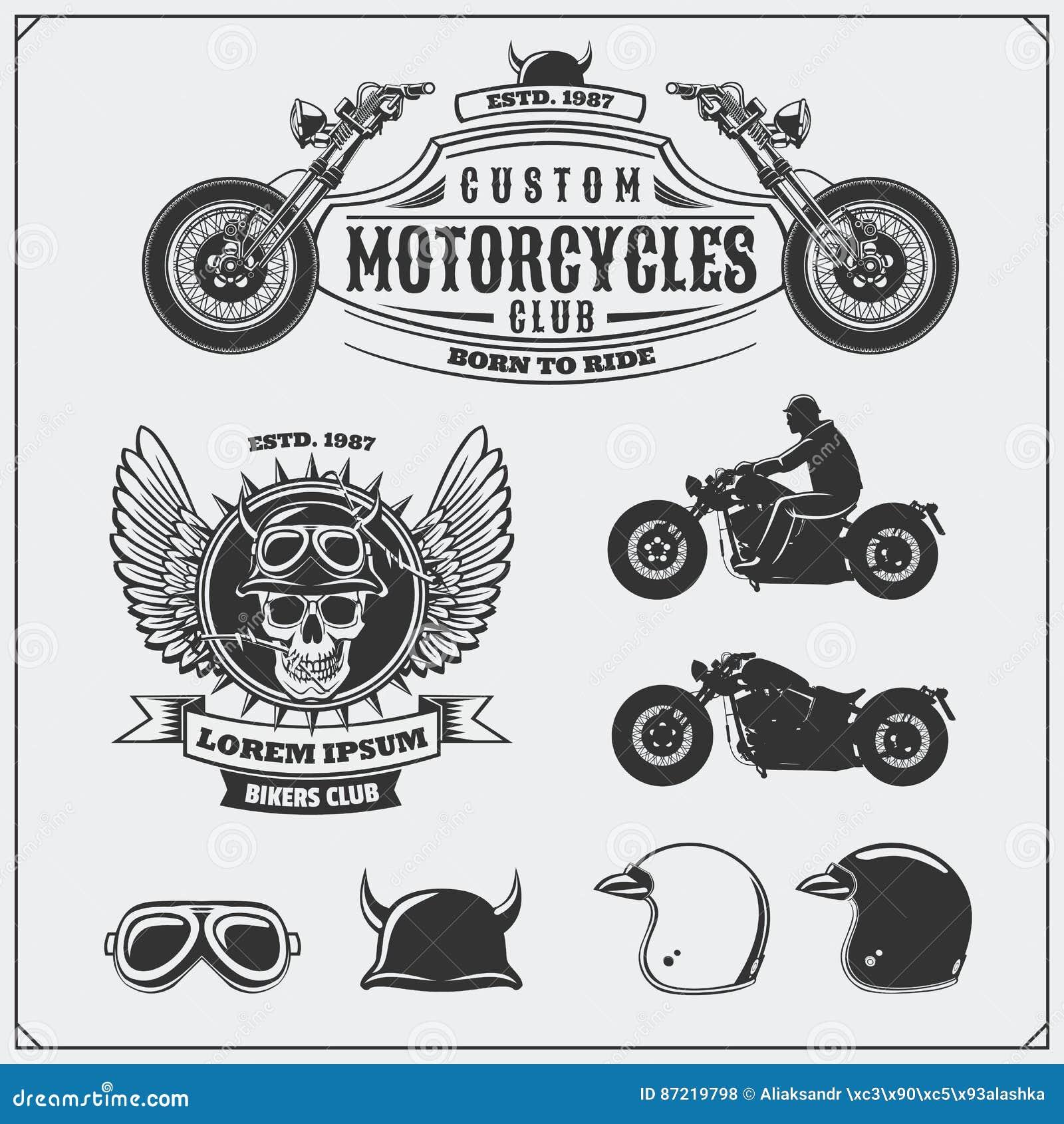 Sammlung Retro- Motorradaufkleber, -embleme, -ausweise und -Gestaltungselemente Sturzhelme, Schutzbrillen und Motorräder Abbildun