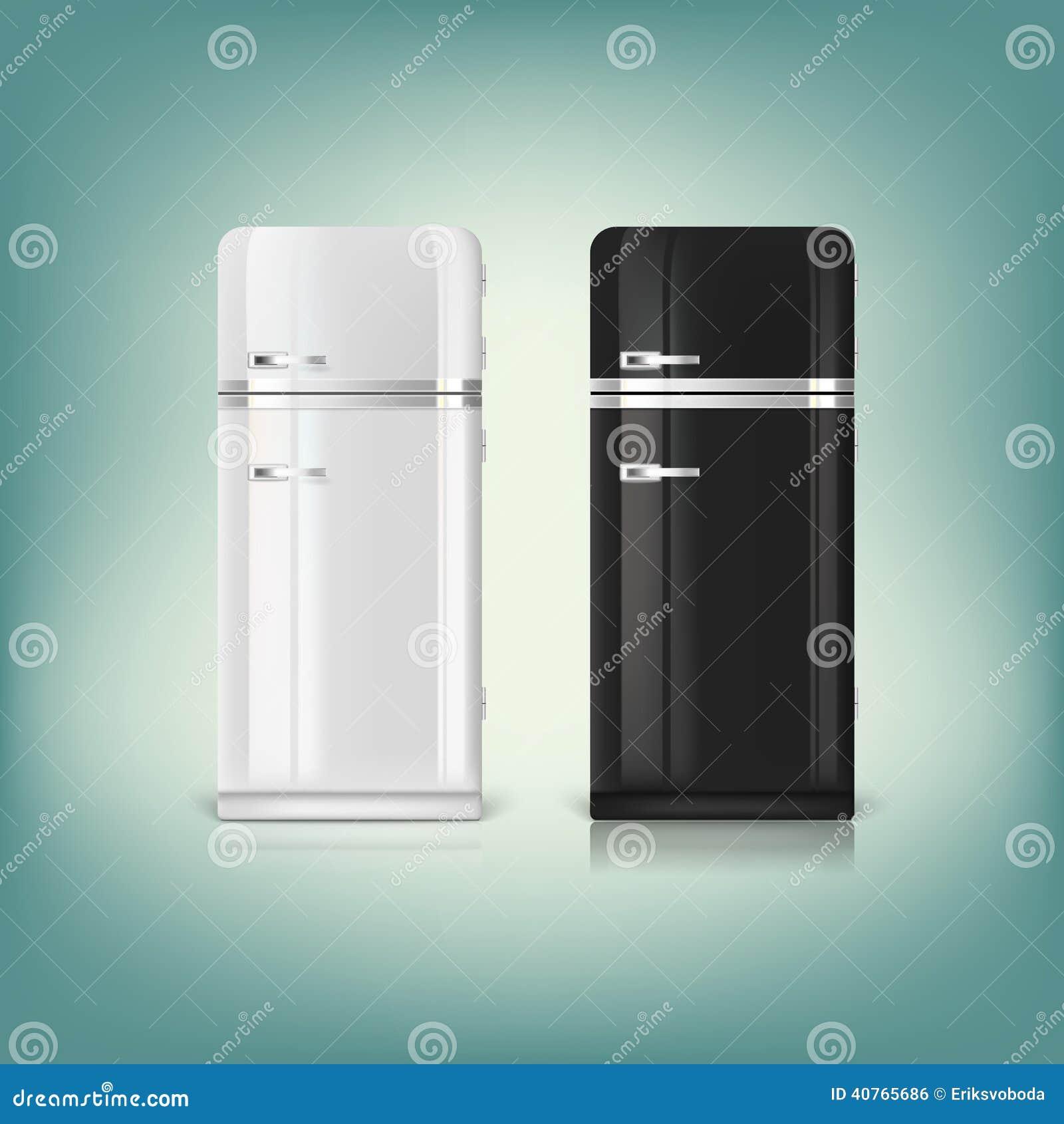 Sammlung Stilvolle Retro- Kühlschränke Vektor Abbildung - Bild ... | {Retrokühlschränke 2}