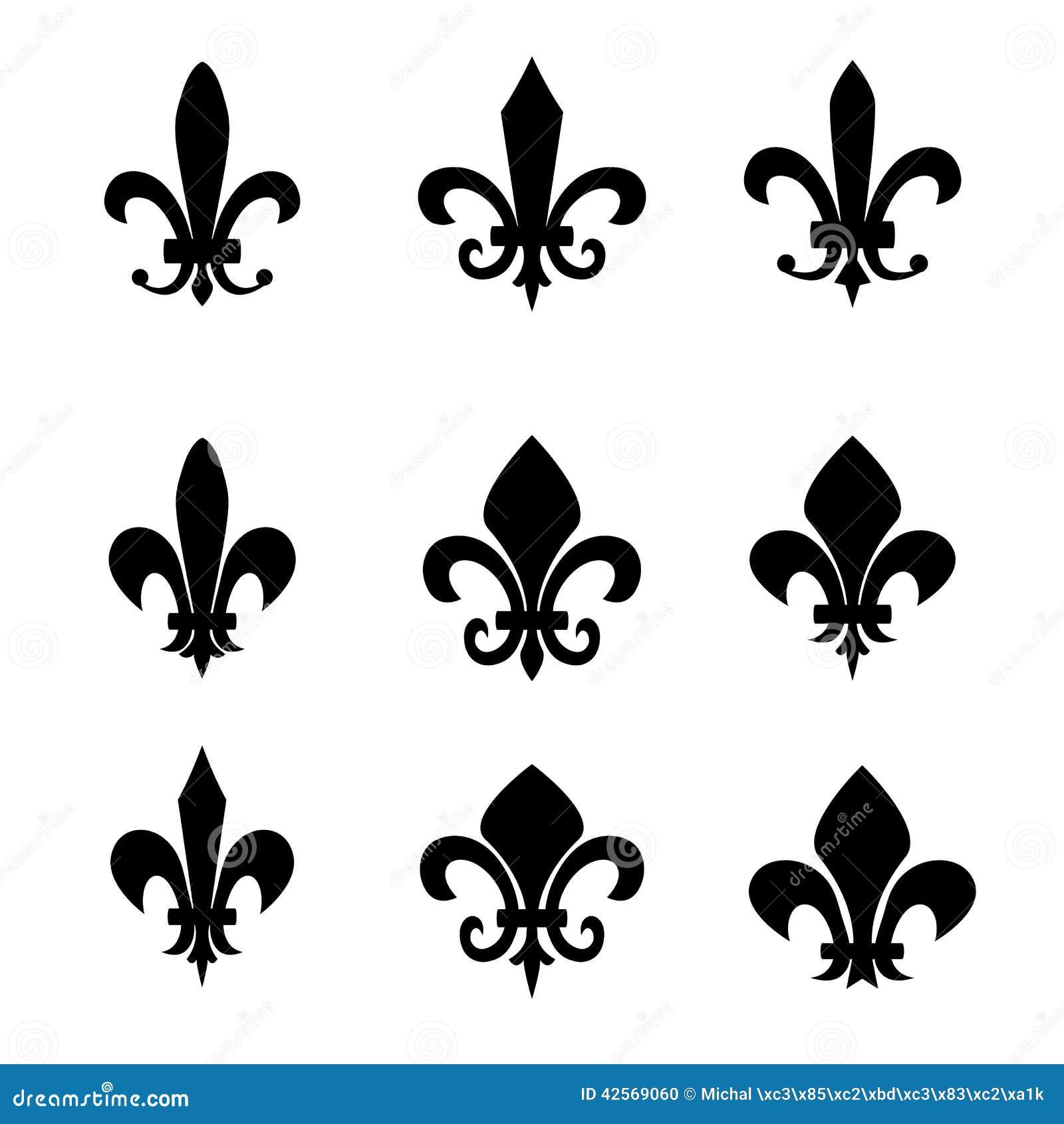Sammlung Symbole Fleur De Lis Schwarze Schattenbilder Vektor
