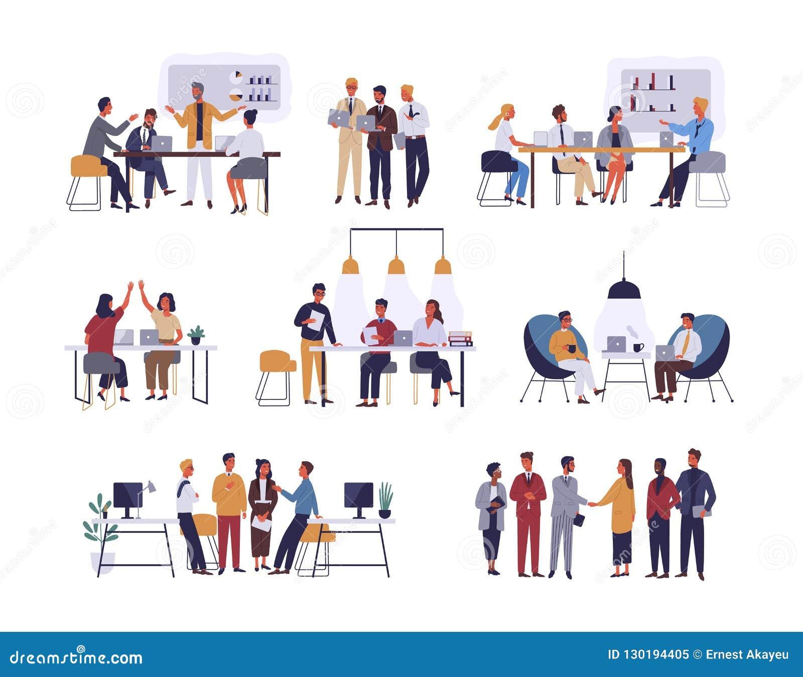 Sammlung Szenen im Büro Bündel Männer und Frauen, die am Geschäftstreffen, Verhandlung, Brainstorming teilnehmen