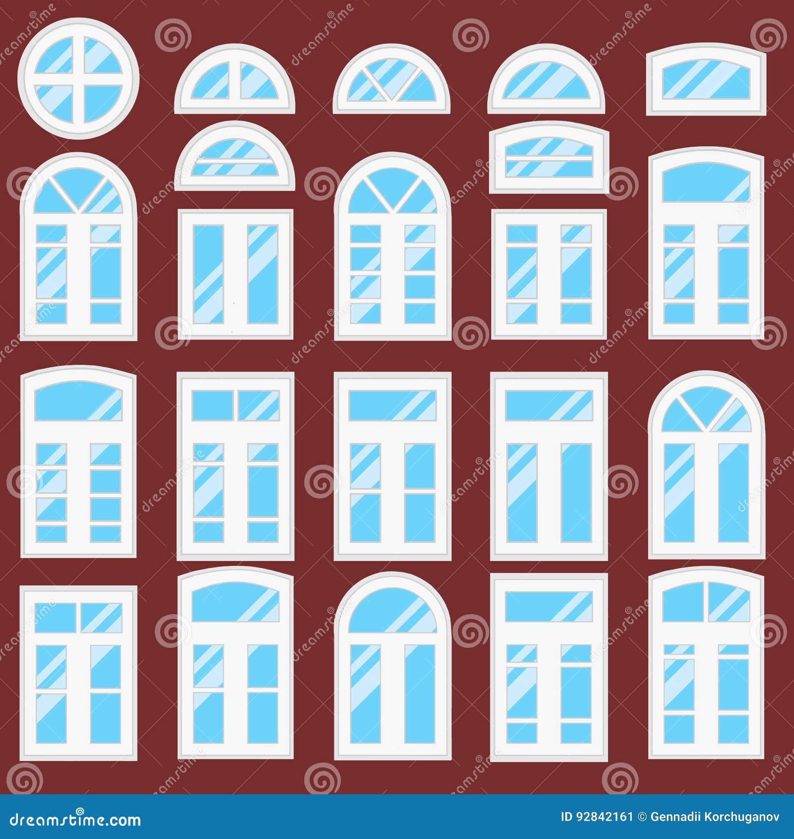 Sammlung Verschiedene Fensterarten Vektor Abbildung Illustration