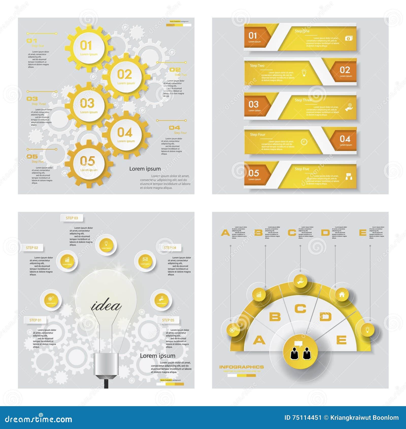 Sammlung von 4 gelbem Farbschablonen-/-graphik- oder -websiteplan Es kann für Leistung der Planungsarbeit notwendig sein