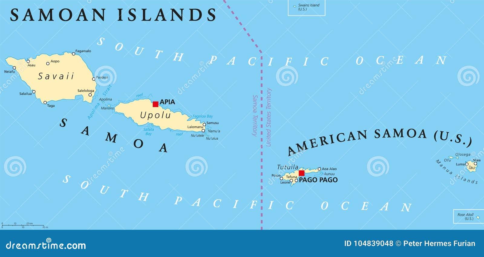 Samoan Islands Political Map Stock Vector - Illustration of ...