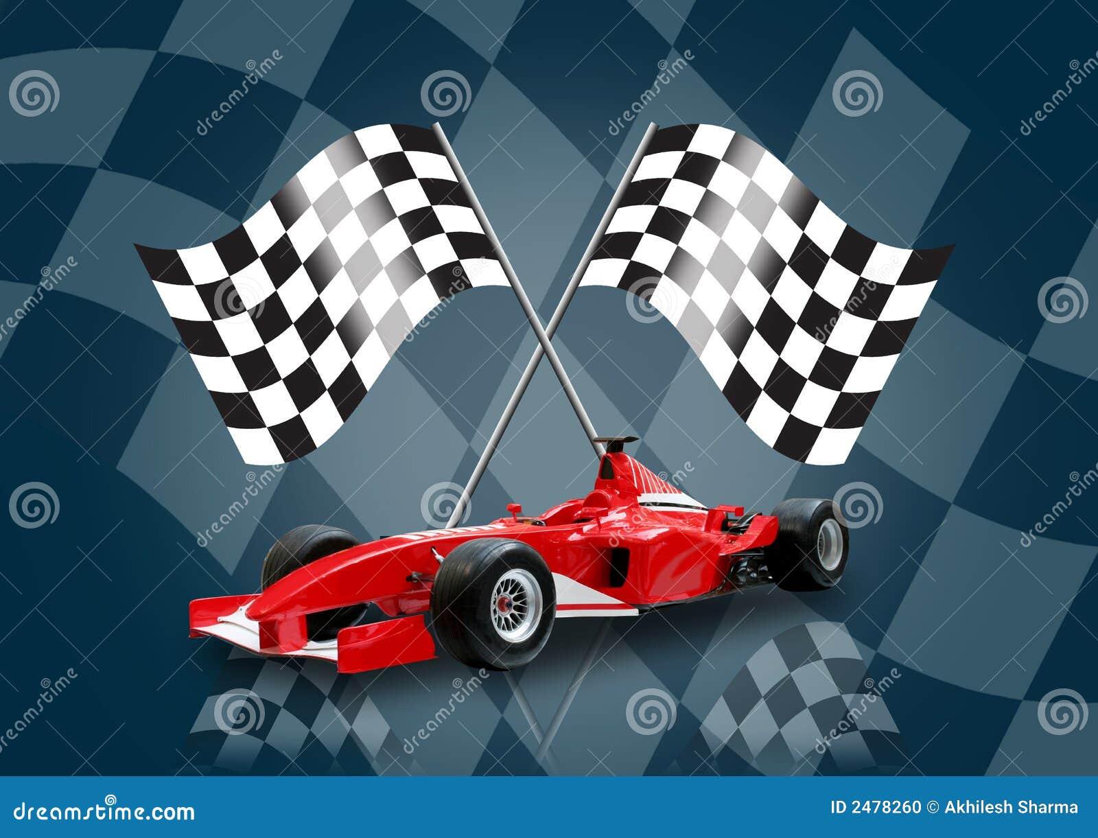 Samochód formuły 1 czerwony bandery