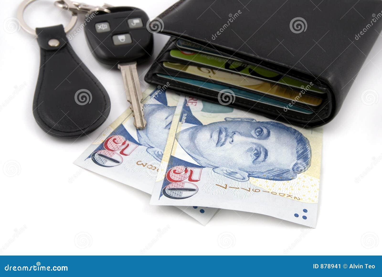 Samochód klucza pieniądze portfel.