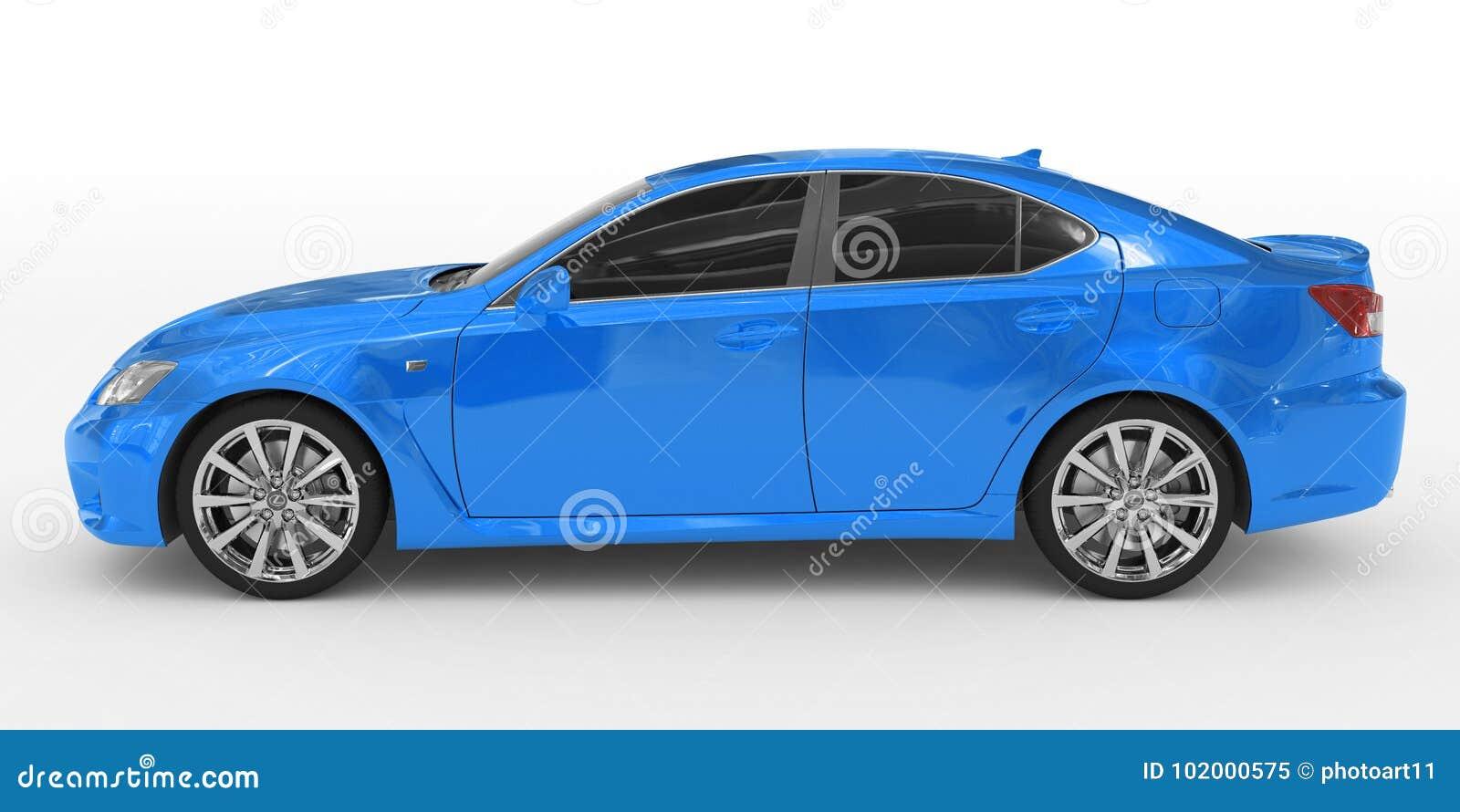 Samochód odizolowywający na bielu lewa strona rywalizuje - błękitna farba, zabarwiający szkło -
