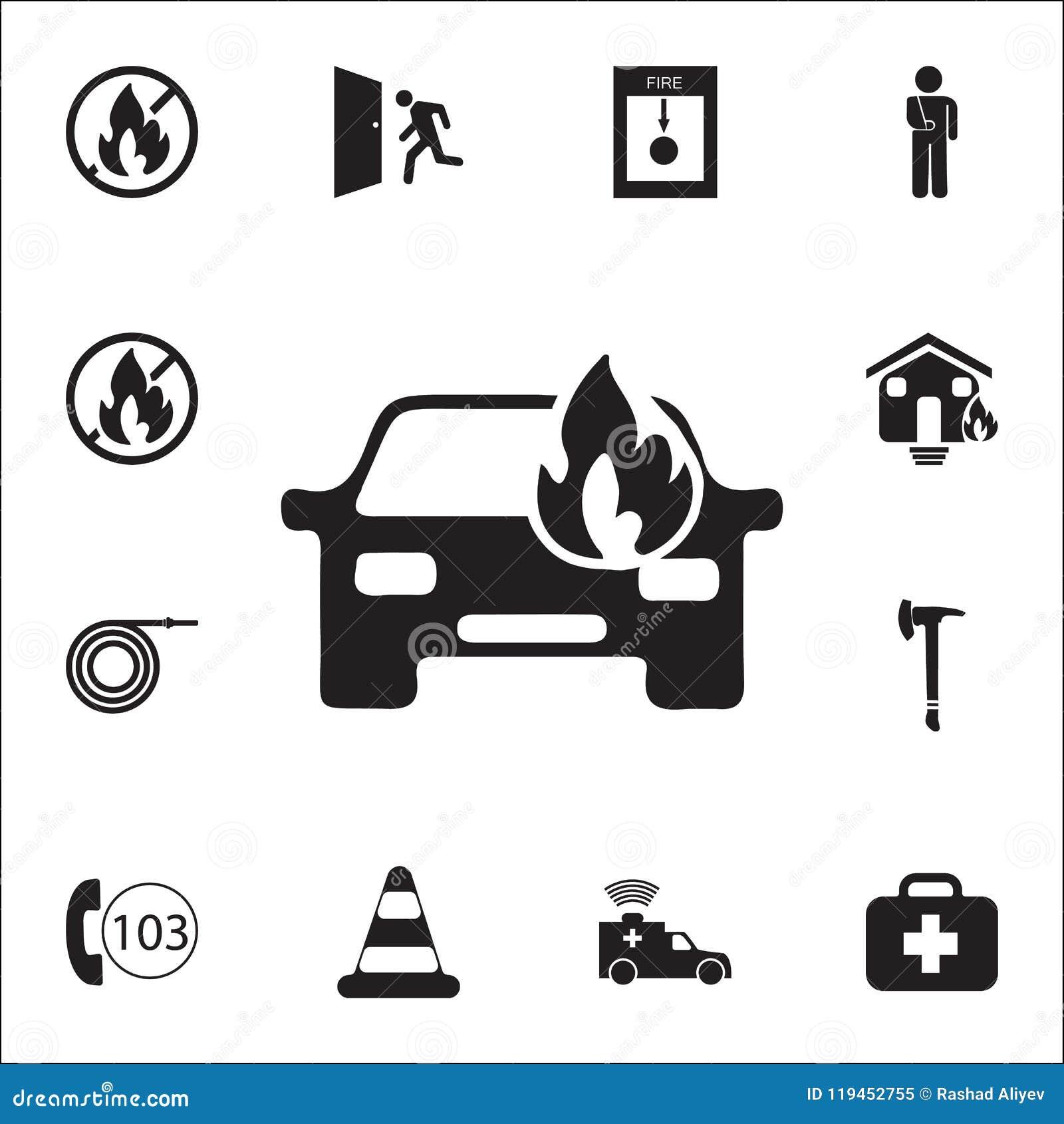 Samochód podpalająca ikona Szczegółowy set ogienia strażnika ikony Premii ilości graficznego projekta znak Jeden inkasowe ikony d