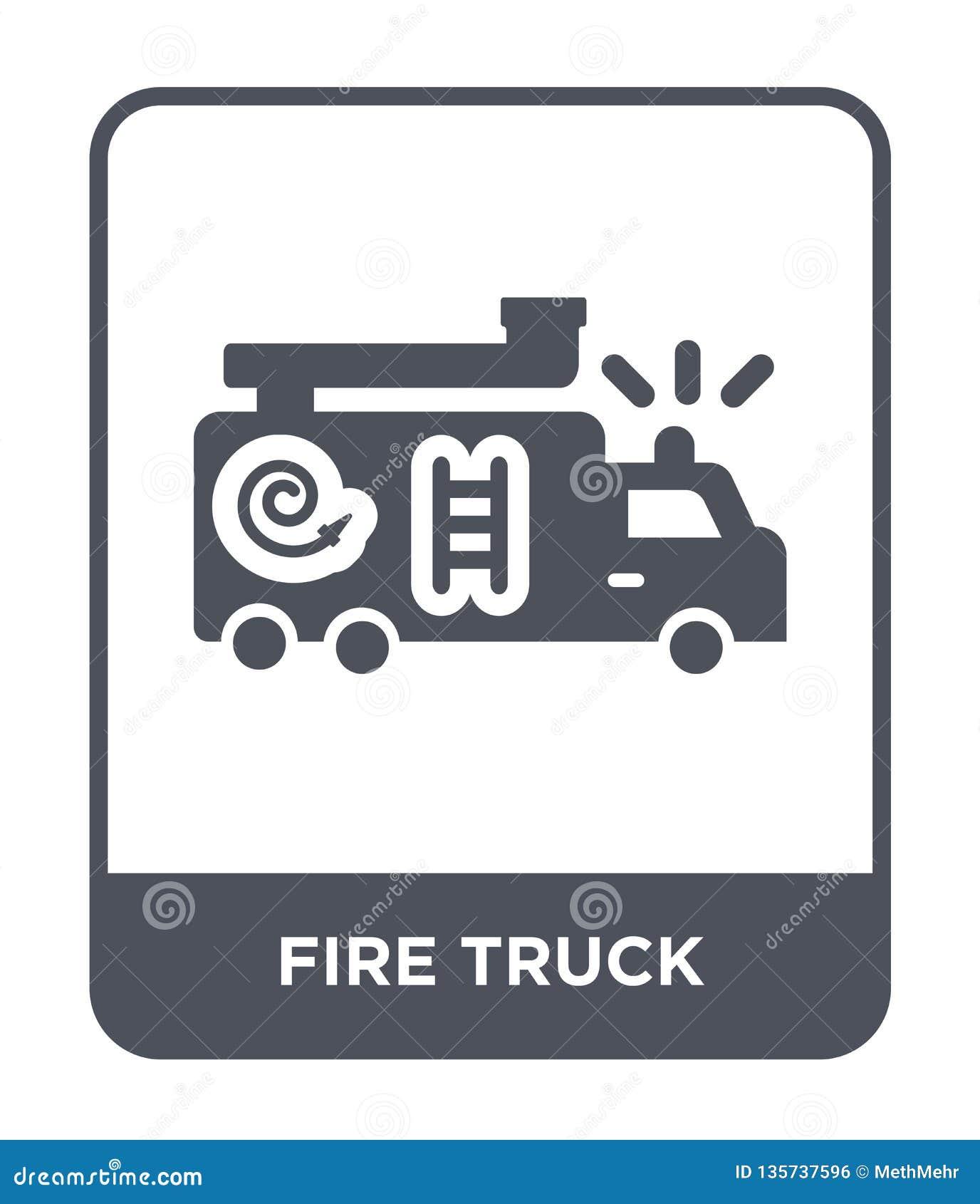 Samochód strażacki ikona w modnym projekta stylu Samochód strażacki ikona odizolowywająca na białym tle samochód strażacki wektor