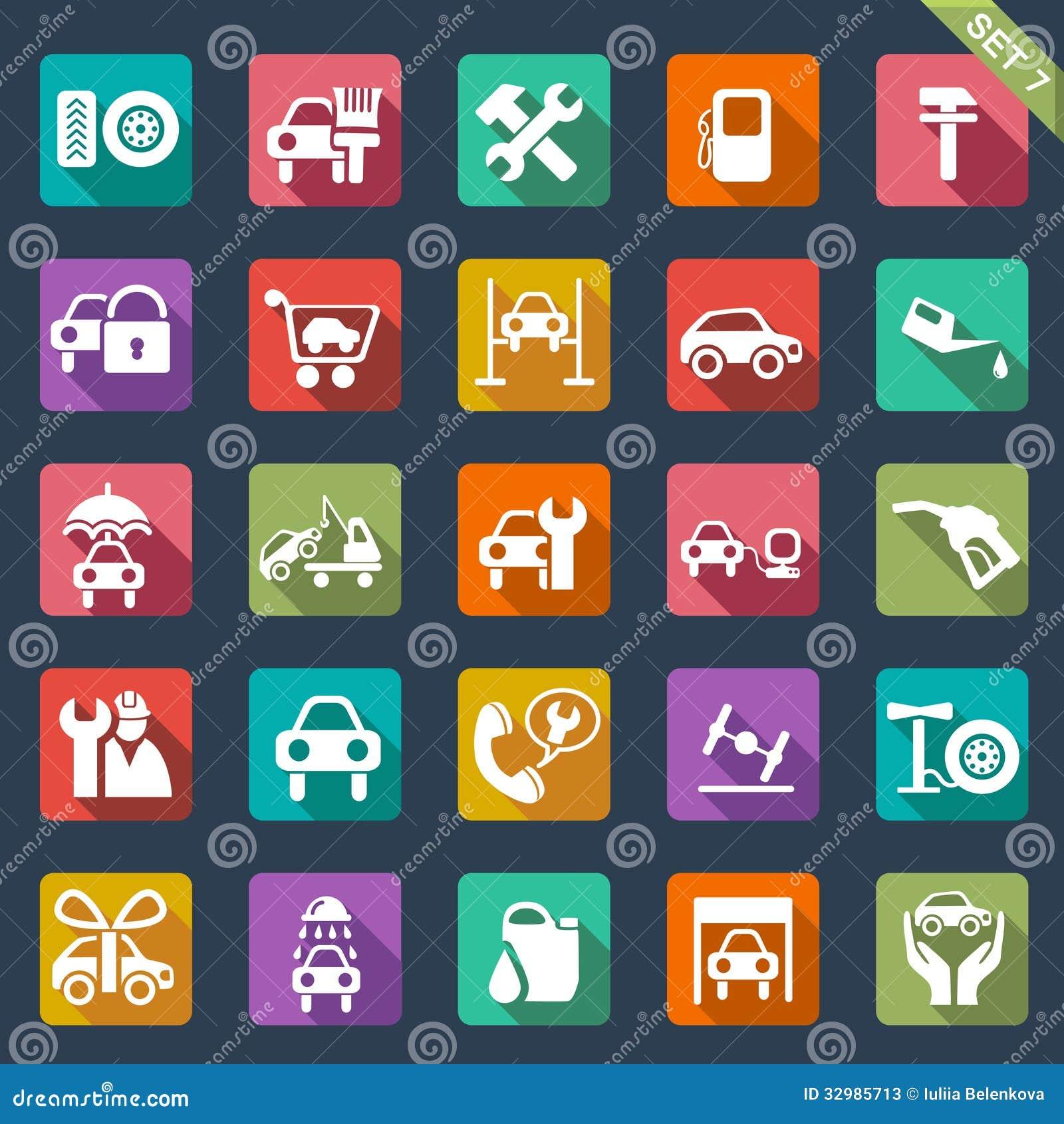 Samochód usługowa ikona ustawiająca - płaski projekt