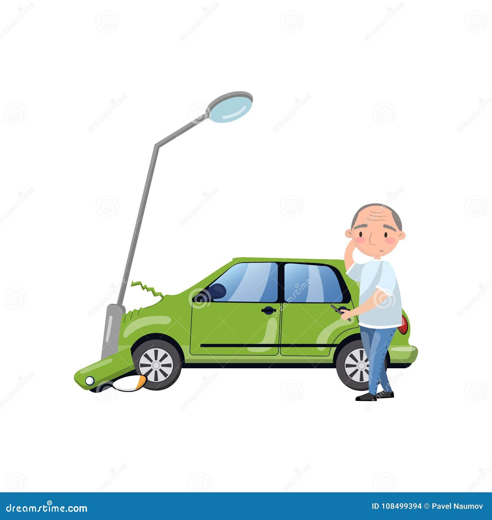 Samochód wpadać na siebie przy latarnią, mężczyzna uczucie szokował, ubezpieczenie samochodu kreskówki wektoru ilustracja