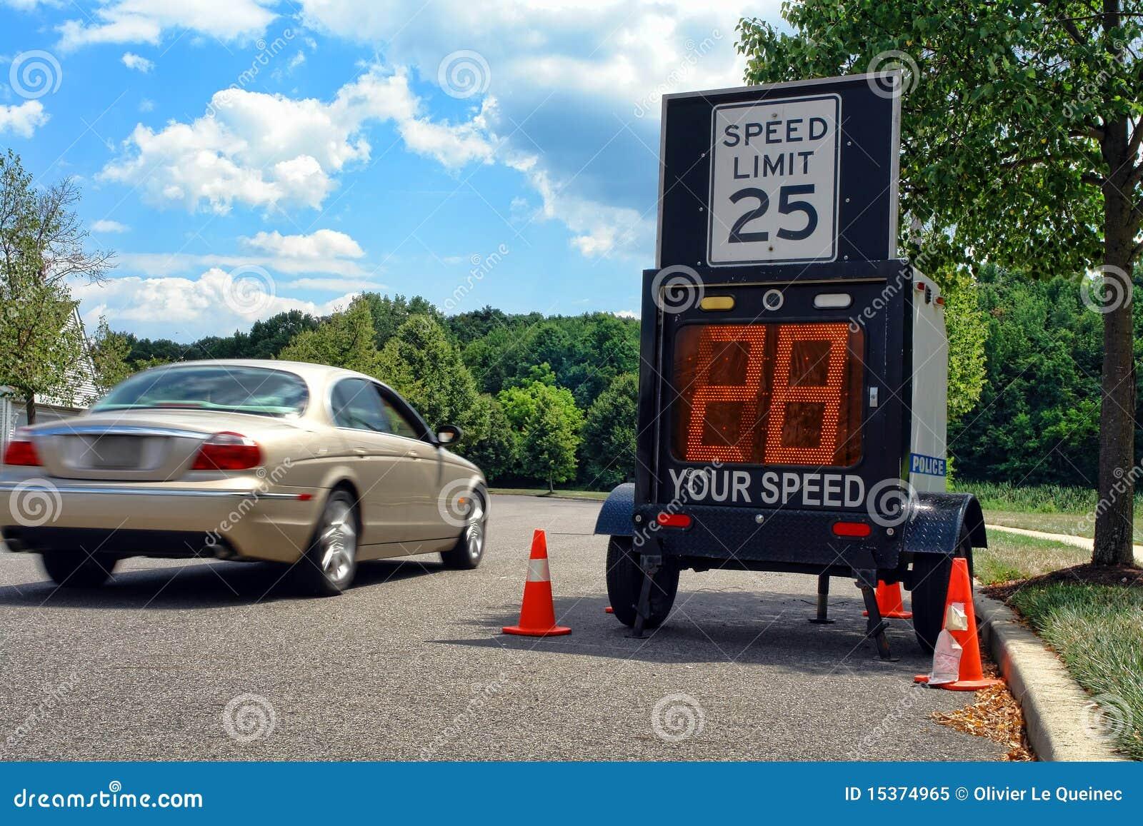Samochodowa jeżdżenia ograniczenia monitoru policja przyśpiesza