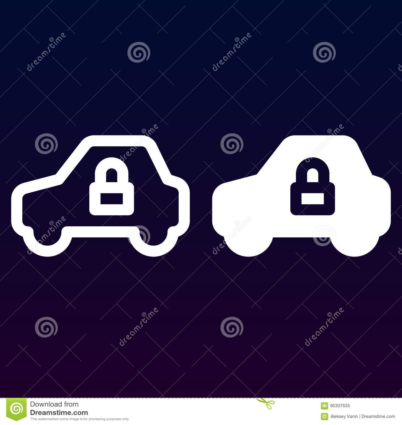 Samochodowa ochrona, linia, bryły ikona, kontur i piktogram odizolowywający na bielu, pojazdu i kędziorka, wypełniający wektoru z