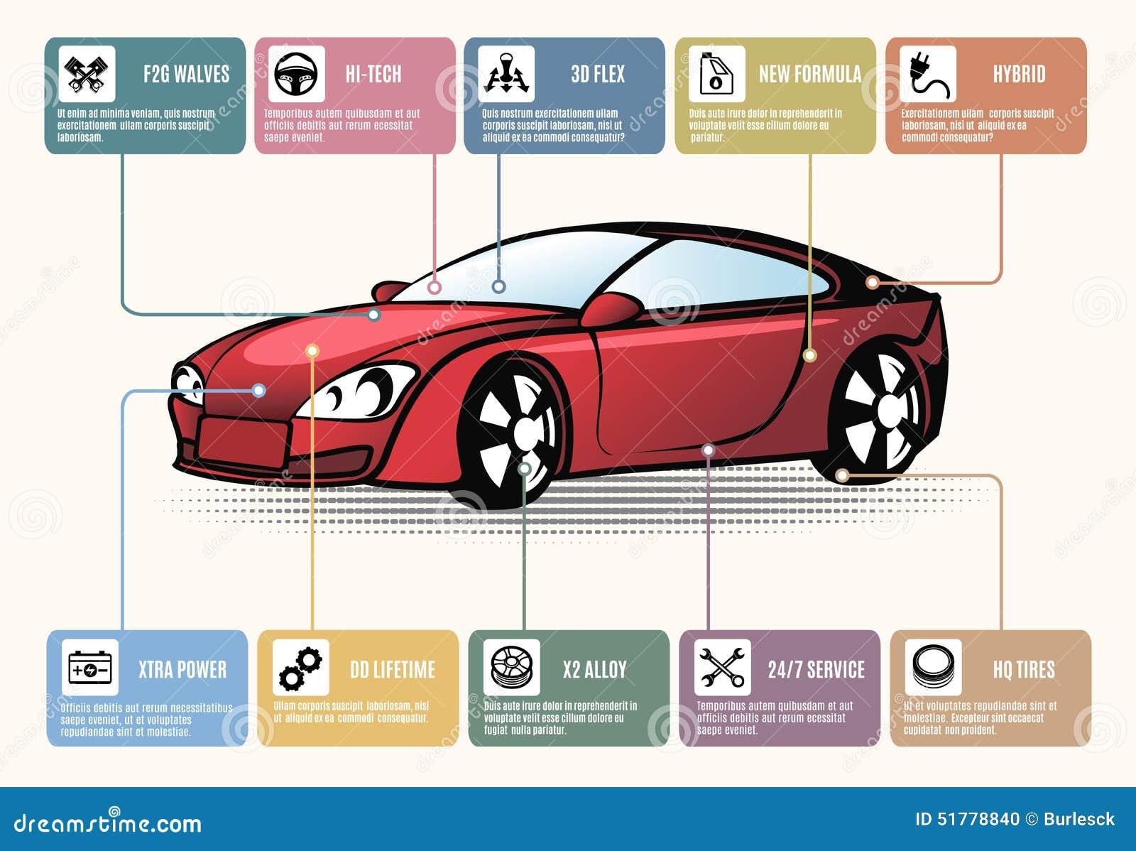 Samochodowe części dla infographics