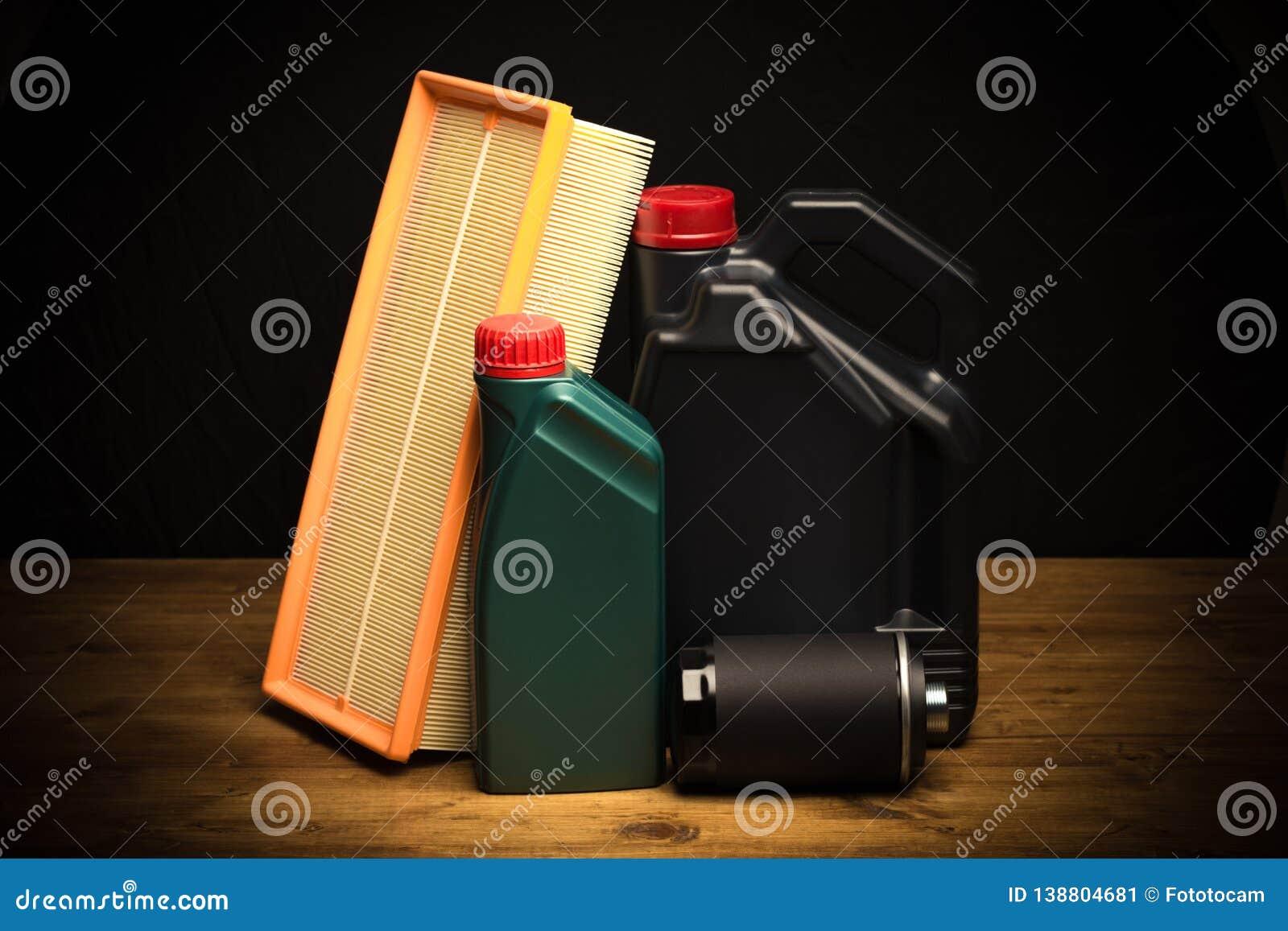 Samochodowe części, utrzymanie, maszyna olej, nafciany filtr, lotniczy filtr