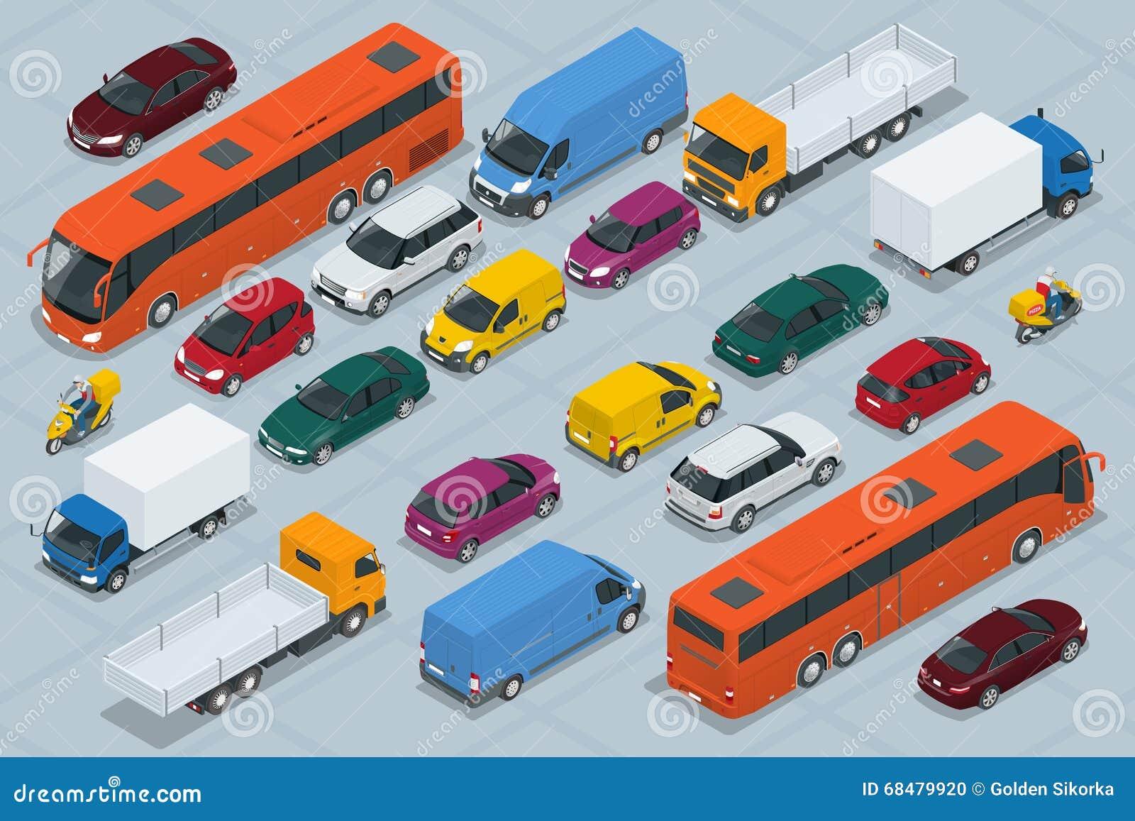 Samochodowe ikony Mieszkania 3d miasta isometric wysokiej jakości transportu ikony samochodowy set Samochód, samochód dostawczy,