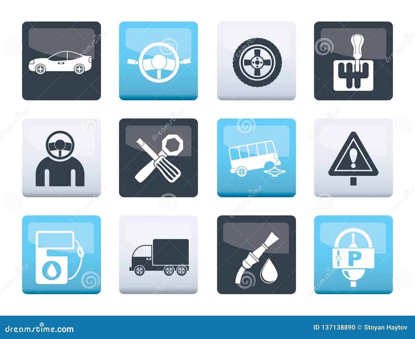 Samochodowe usługi i transport ikony nad koloru tłem