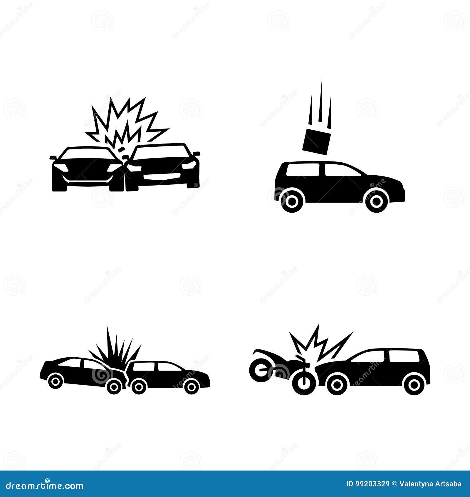 Samochodowy samochodów karambolu trzask wielki autostrada zamrażającą prędkość Proste Powiązane Wektorowe ikony