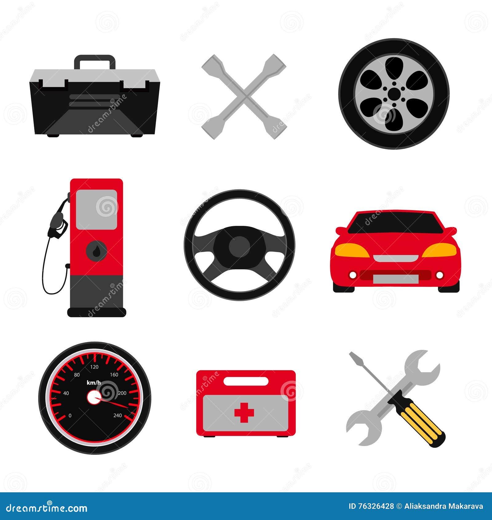 Samochodowy usługowego mieszkania ikony set Auto mechanika usługowego mieszkania ikony utrzymanie samochodu działanie i naprawa A