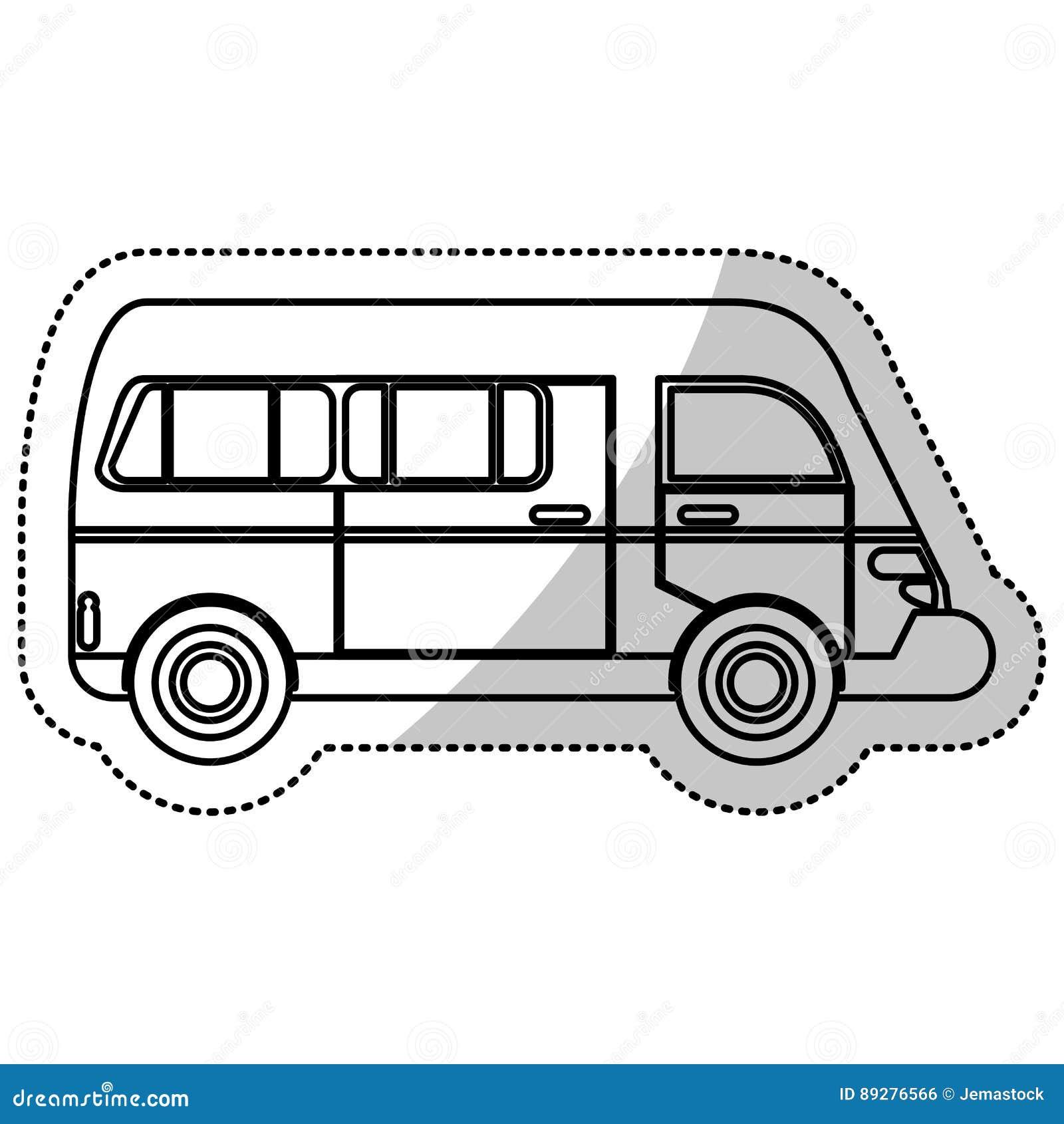 Samochodu dostawczego przewiezionego pojazdu miastowy kontur