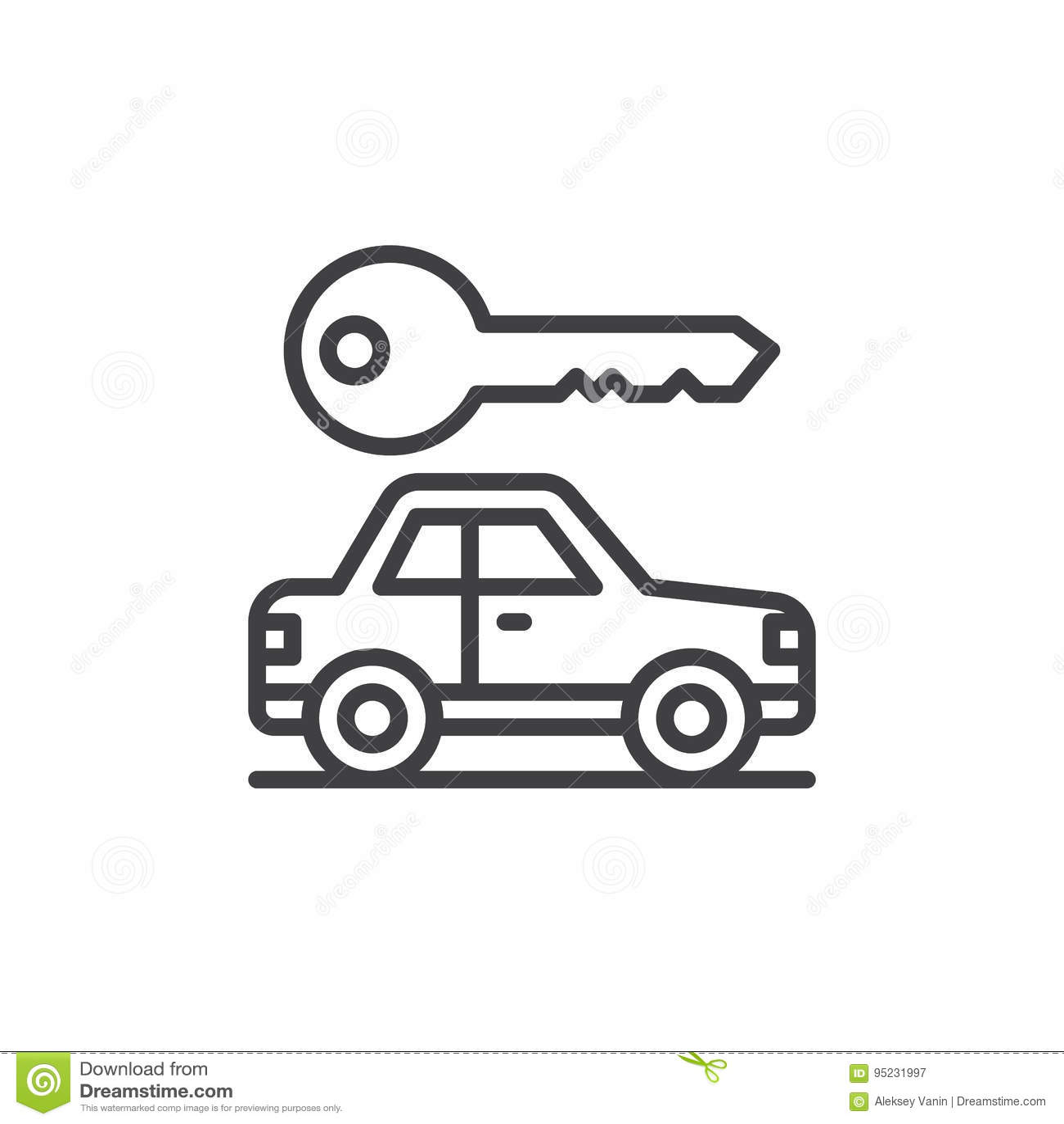 Samochodu i klucza kreskowa ikona, konturu wektoru znak, liniowy stylowy piktogram odizolowywający na bielu