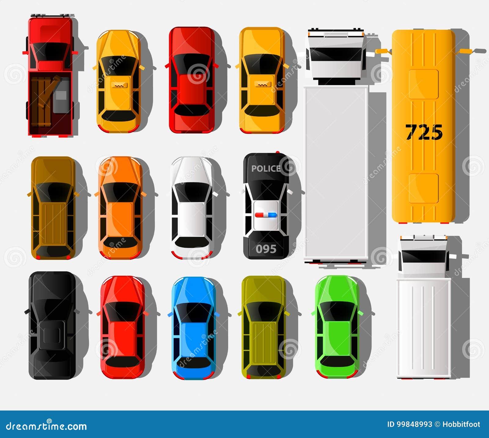 Samochodu Odgórny widok Miasto pojazdu transportu ikony ustawiać Samochodu samochód dla transportu