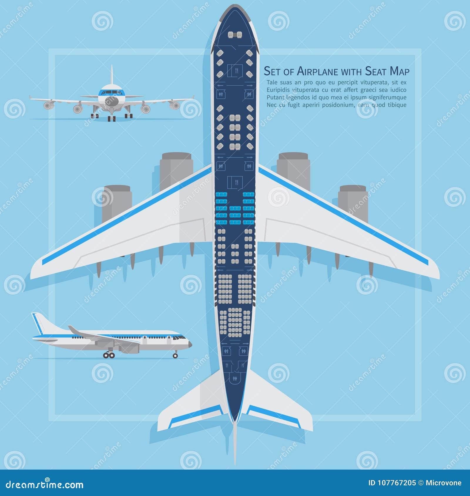 Samolotów siedzeń planu odgórny widok Biznesu i gospodarki klas samolotowa salowa ewidencyjna mapa również zwrócić corel ilustrac