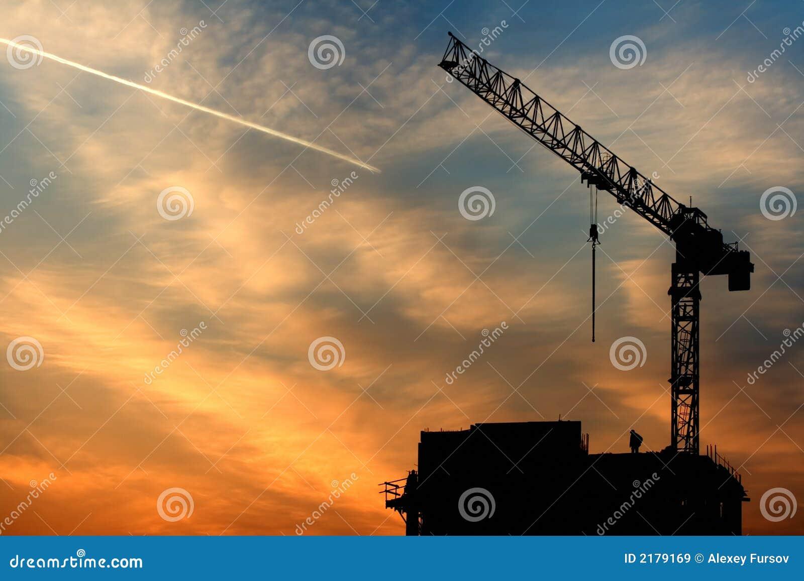 Samolot crane wschód słońca