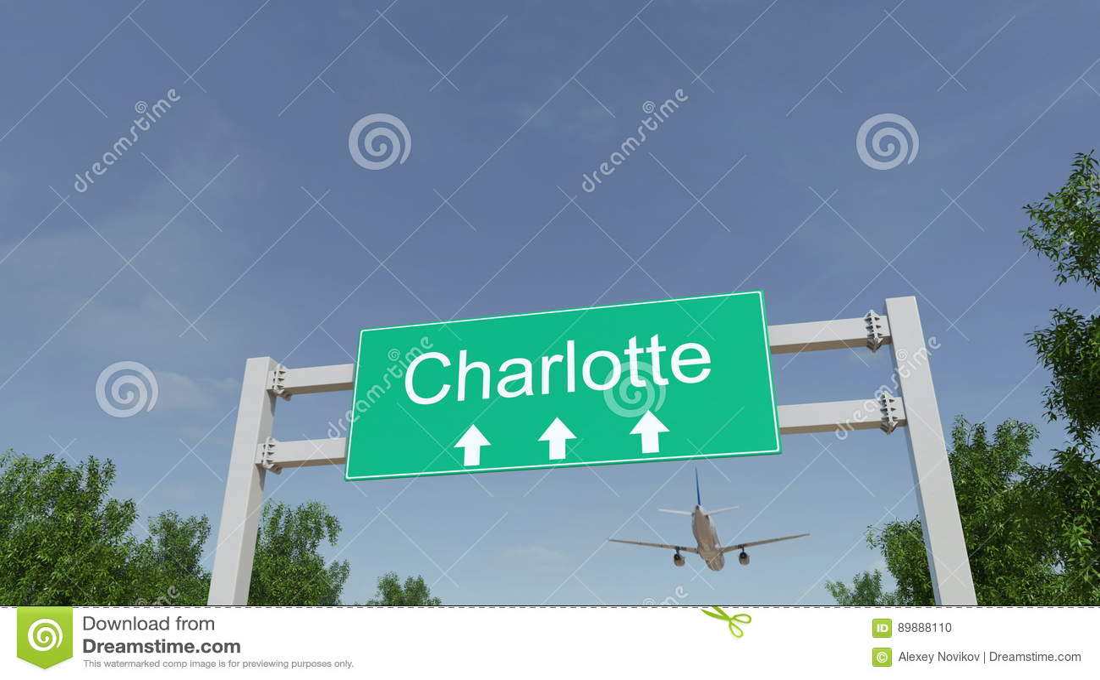 Samolot przyjeżdża Charlotte lotnisko Podróżować Stany Zjednoczone konceptualny 3D rendering