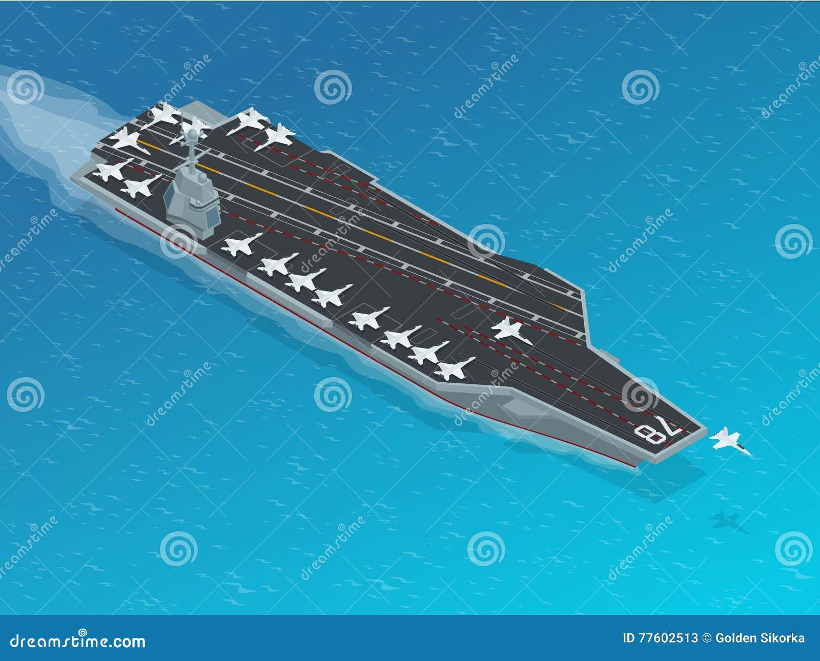 Samolot wyznaczający wspomagany energią jądrową lotniskowiec Isometric wektorowej marynarki wojennej Jądrowy lotniskowiec