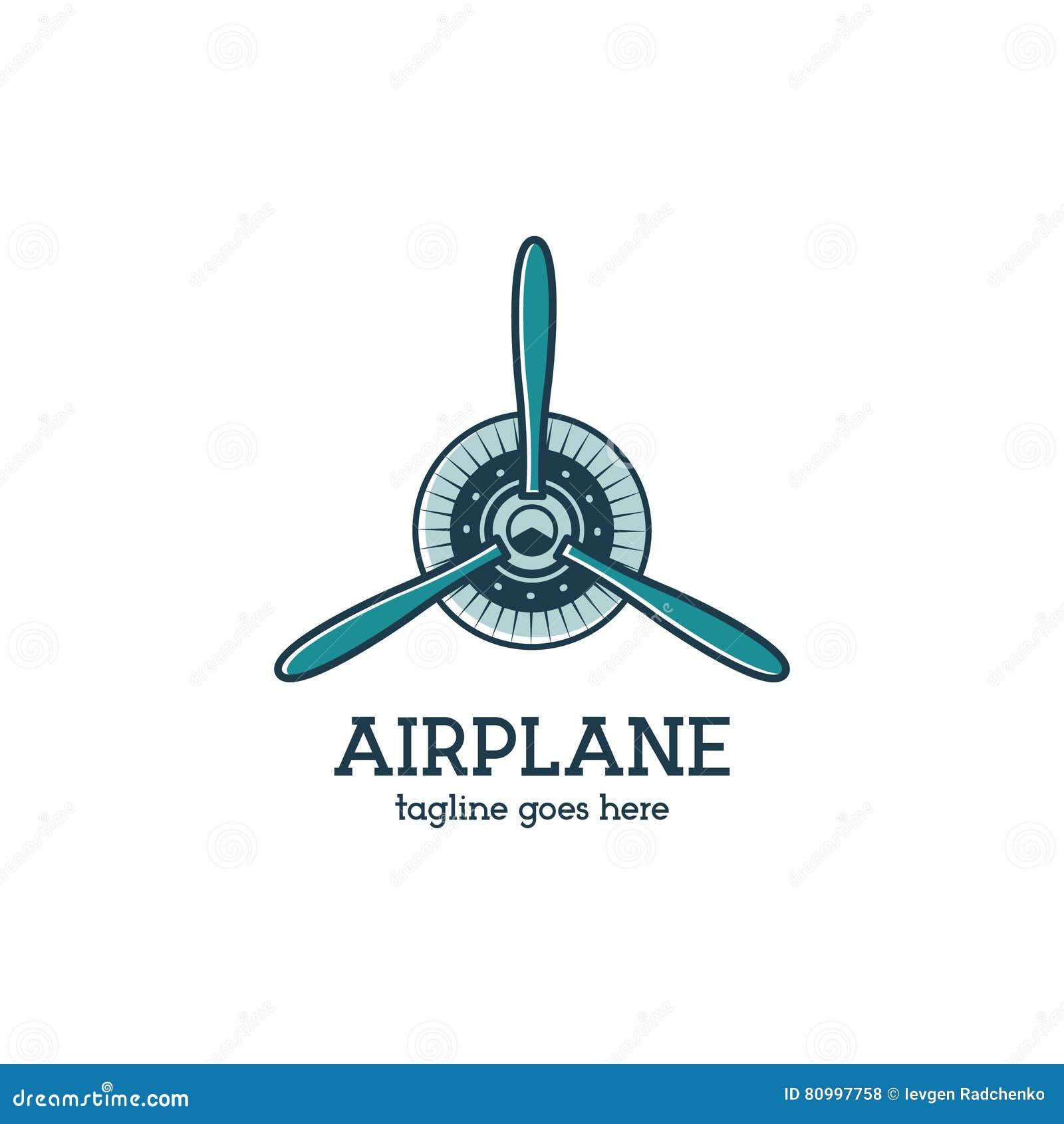 Samolotowego śmigła loga szablon z promieniowym silnikiem Retro Płaska odznaka Płaski projekt dla druków na t koszula, odziewa