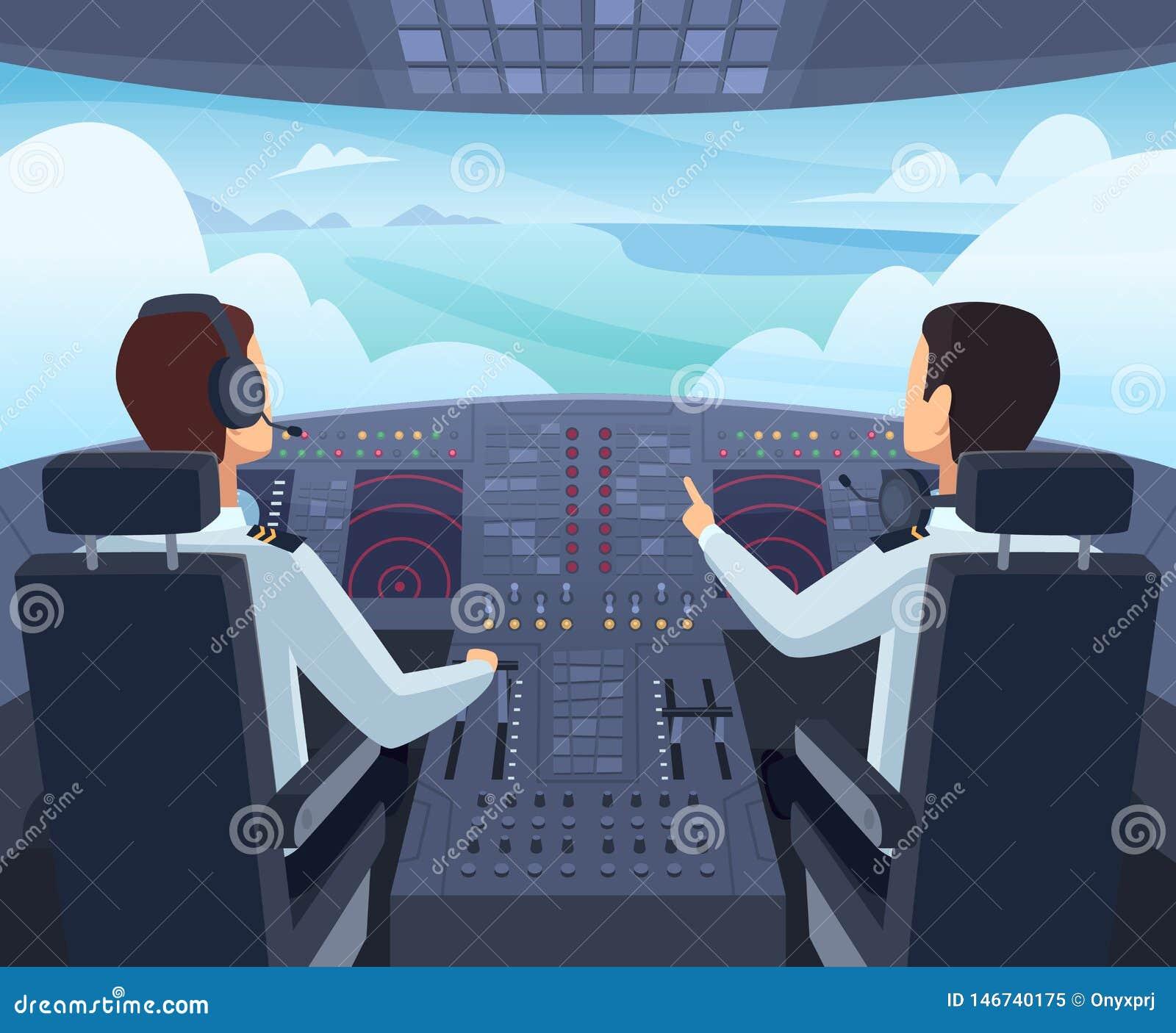Samolotowy kokpit Piloci siedzi przód deska rozdzielcza samolot wśrodku wektorowych kreskówek ilustracji