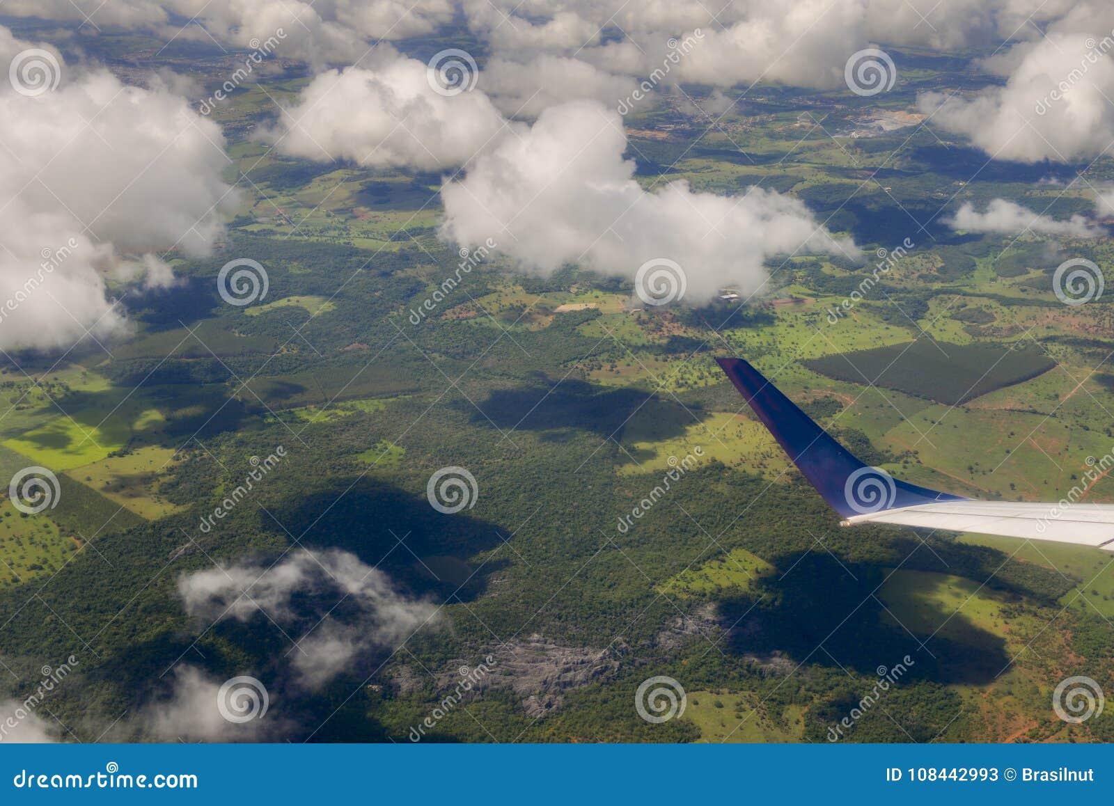 Samolotowy pasażerski widok patrzeje terenoznawstwo minas gerais