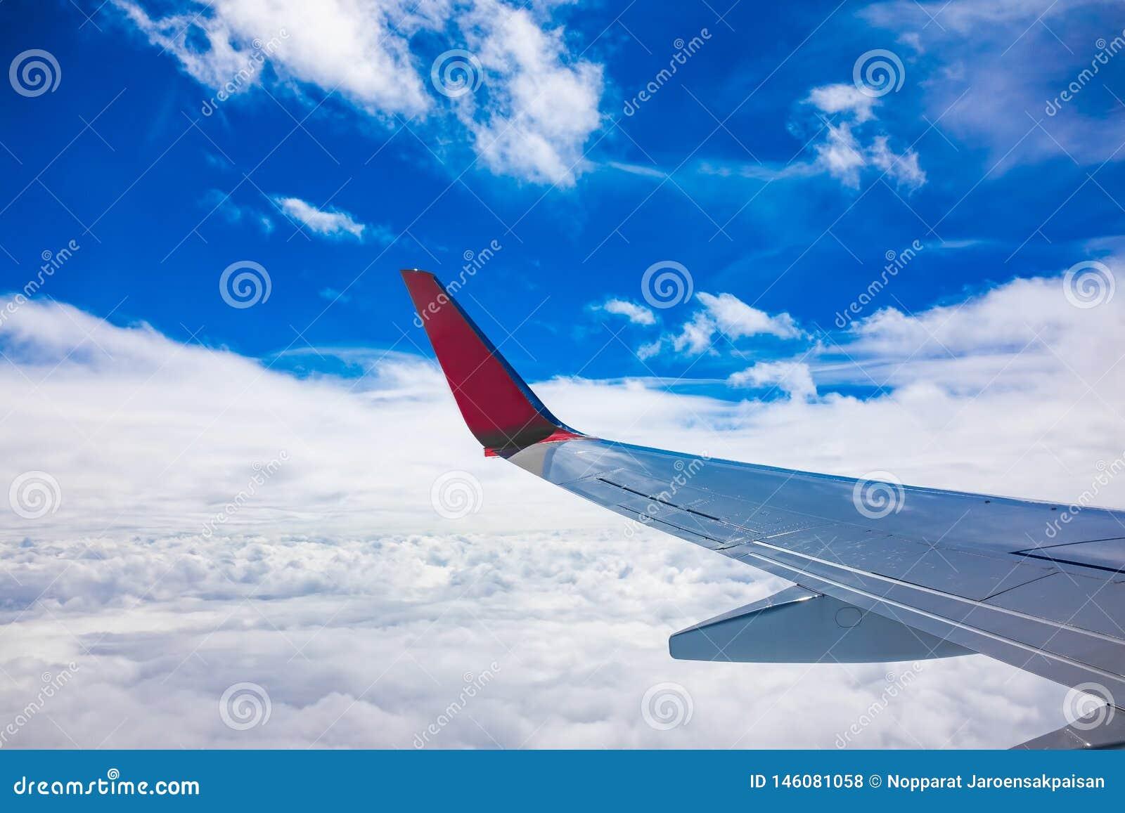 Samolotu skrzydłowy widok od okno z niebieskim niebem