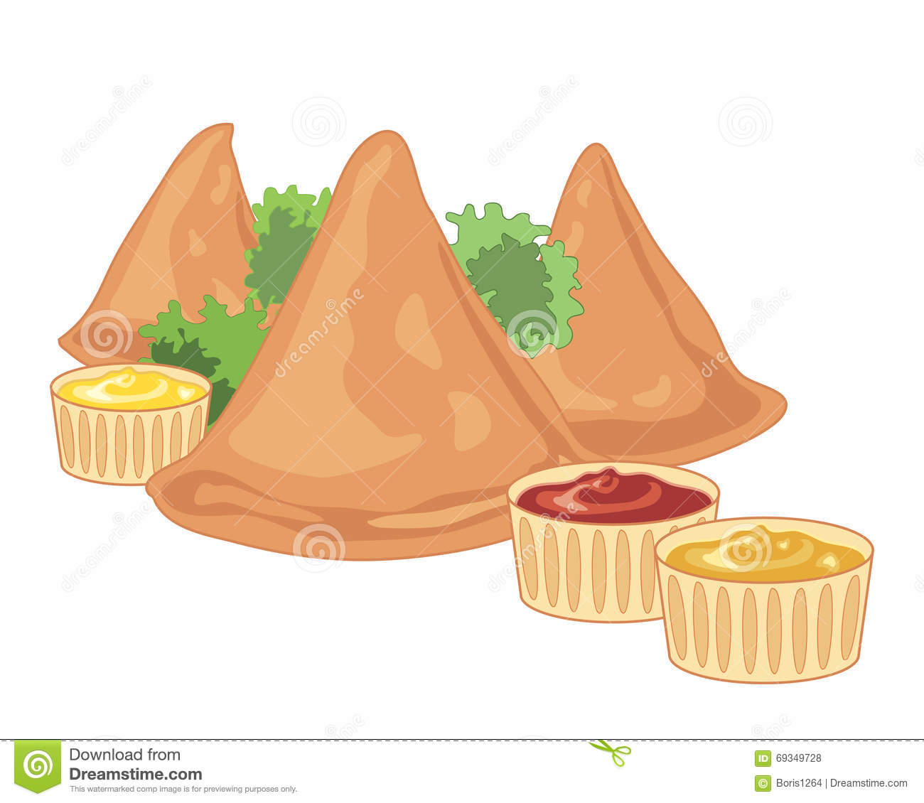 Samosa background stock vector image 69349728 for Art of indian cuisine