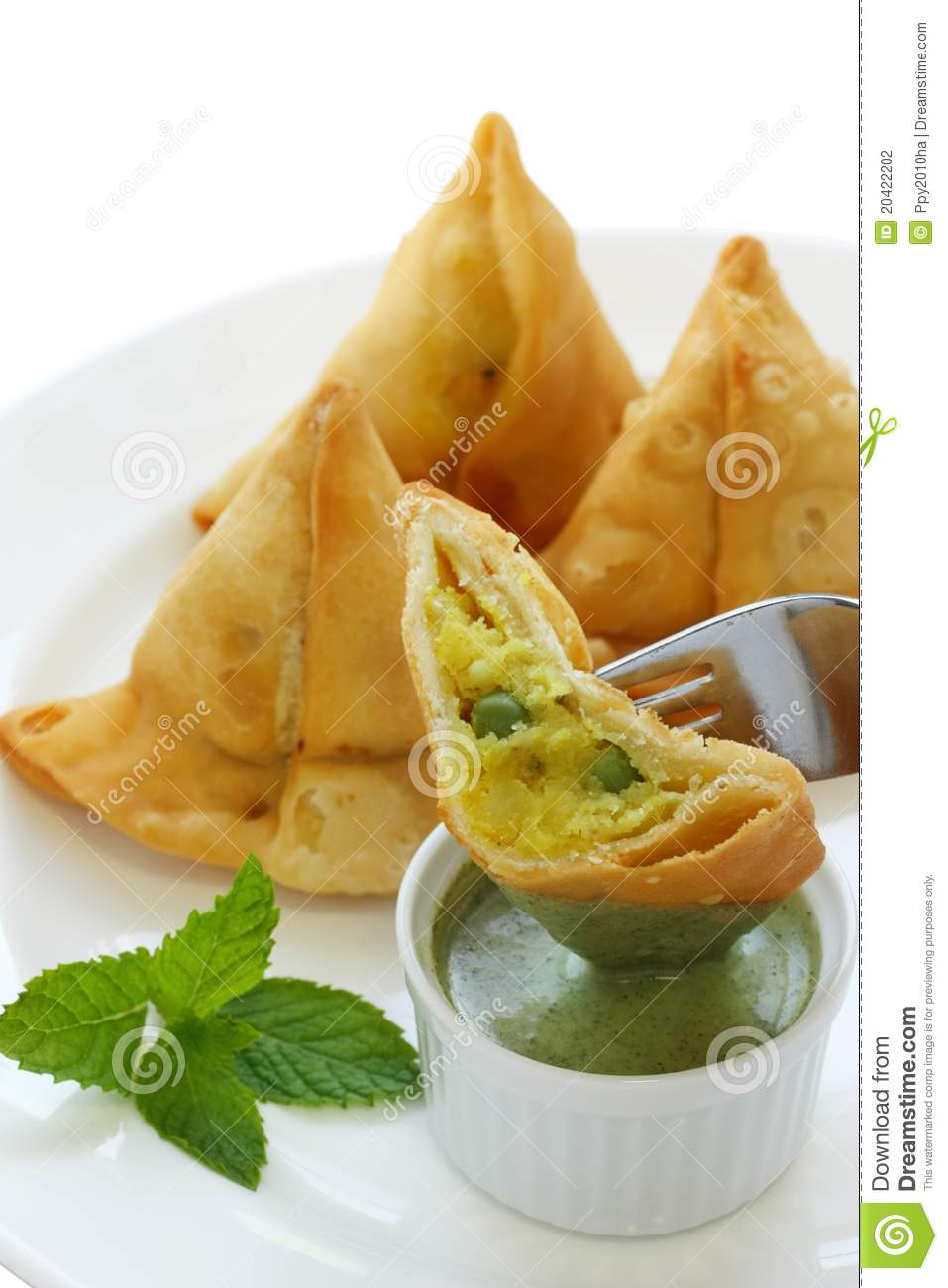 samosa with mint chutney indian food stock photography. Black Bedroom Furniture Sets. Home Design Ideas