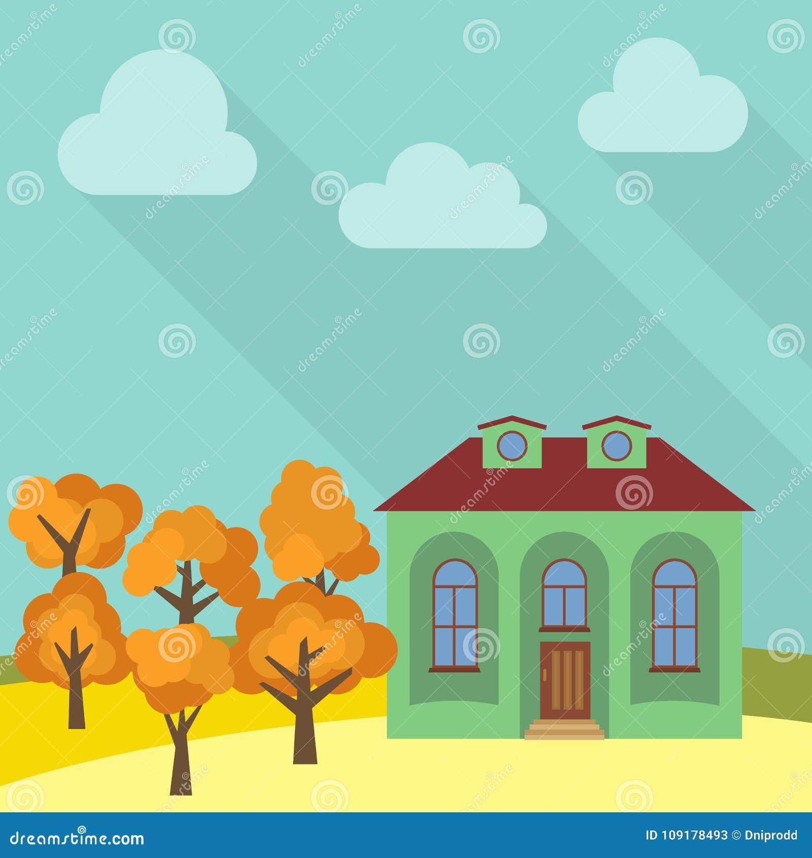 Samotny dom w polu z żółtym drzewem