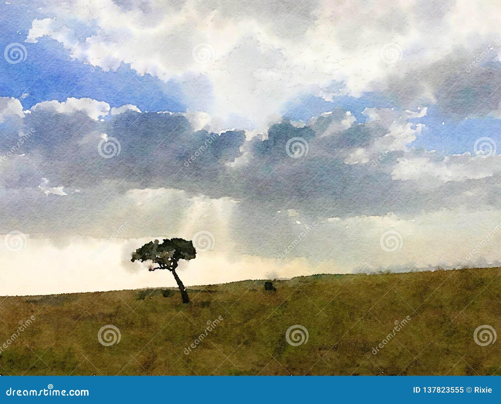 Samotny drzewny cyfrowy watercolour