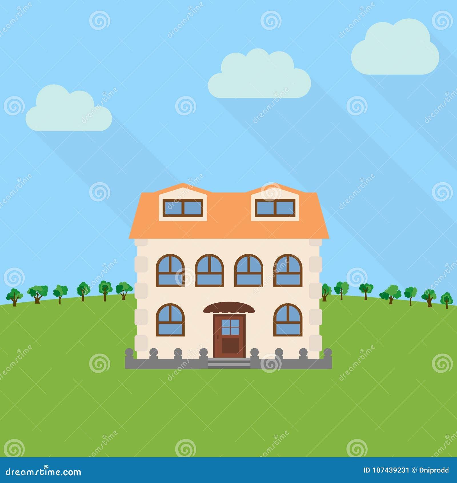 Samotny kondygnacja dom w polu z zielonym drzewem